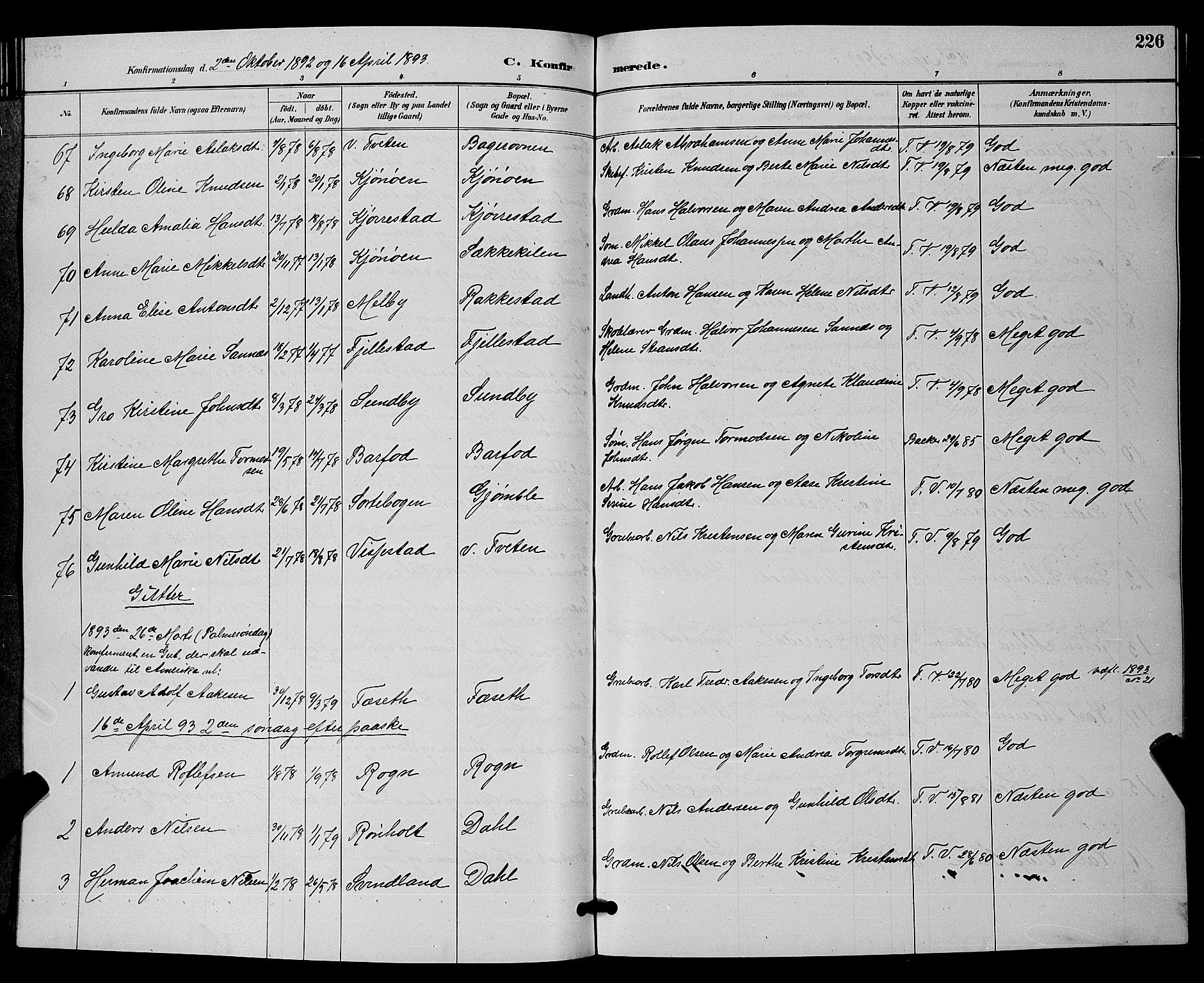 SAKO, Bamble kirkebøker, G/Ga/L0009: Klokkerbok nr. I 9, 1888-1900, s. 226