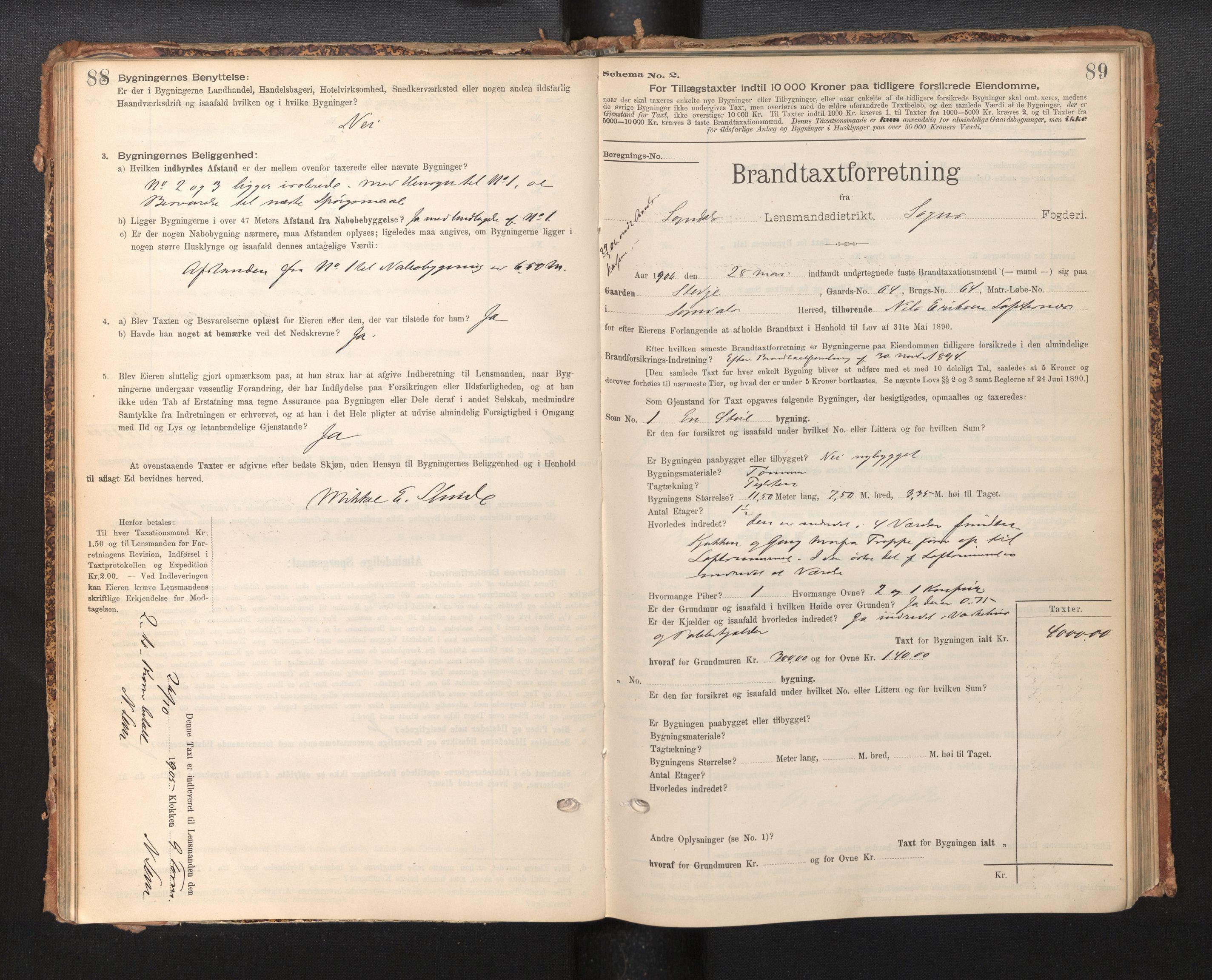SAB, Lensmannen i Sogndal, 0012/L0009: Branntakstprotokoll, skjematakst, 1901-1914, s. 88-89