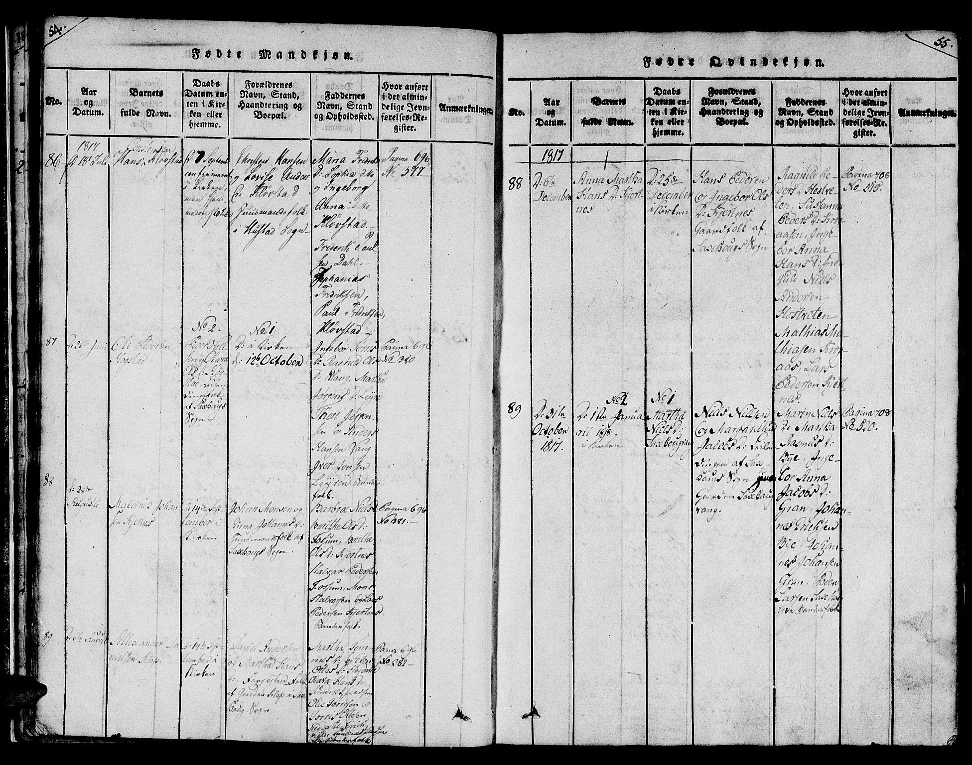 SAT, Ministerialprotokoller, klokkerbøker og fødselsregistre - Nord-Trøndelag, 730/L0275: Ministerialbok nr. 730A04, 1816-1822, s. 54-55