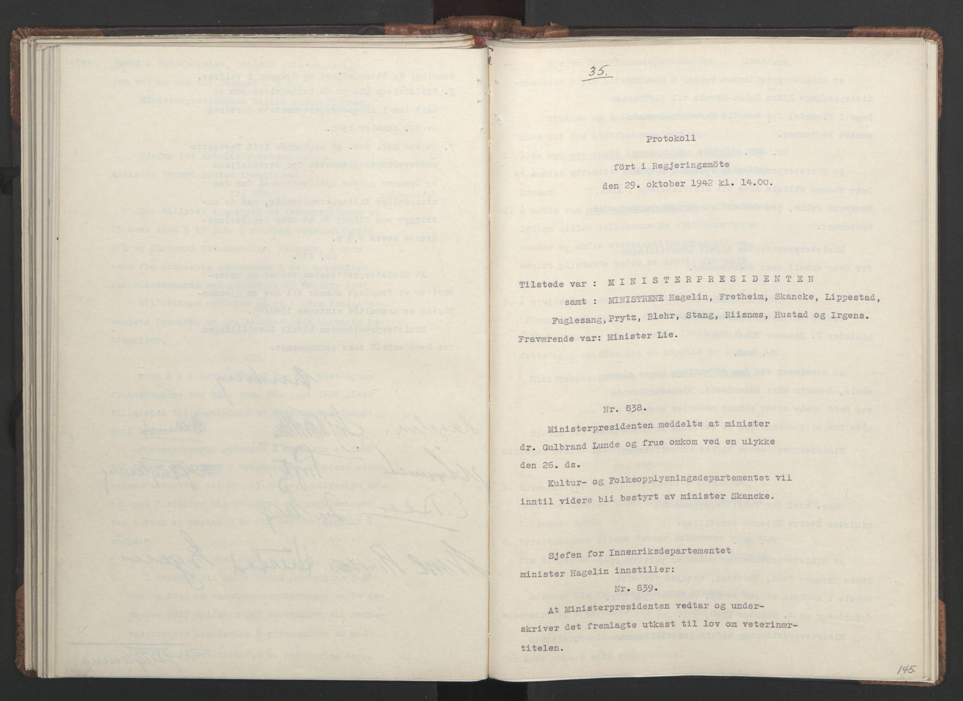 RA, NS-administrasjonen 1940-1945 (Statsrådsekretariatet, de kommisariske statsråder mm), D/Da/L0001: Beslutninger og tillegg (1-952 og 1-32), 1942, s. 144b-145a