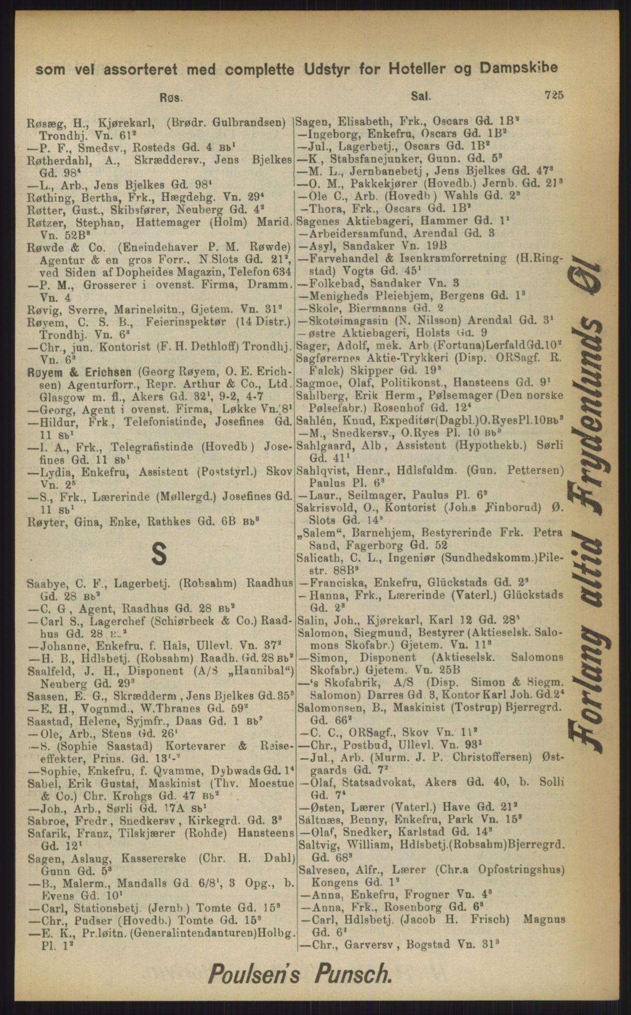 RA, Kristiania adressebok (publikasjon)*, 1903, s. 725