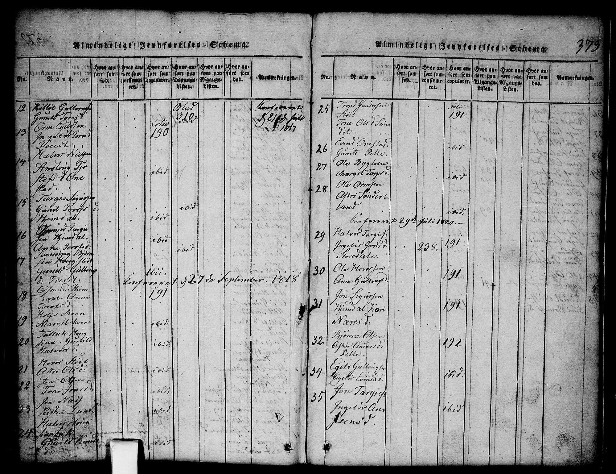 SAKO, Nissedal kirkebøker, G/Gb/L0001: Klokkerbok nr. II 1, 1814-1862, s. 373