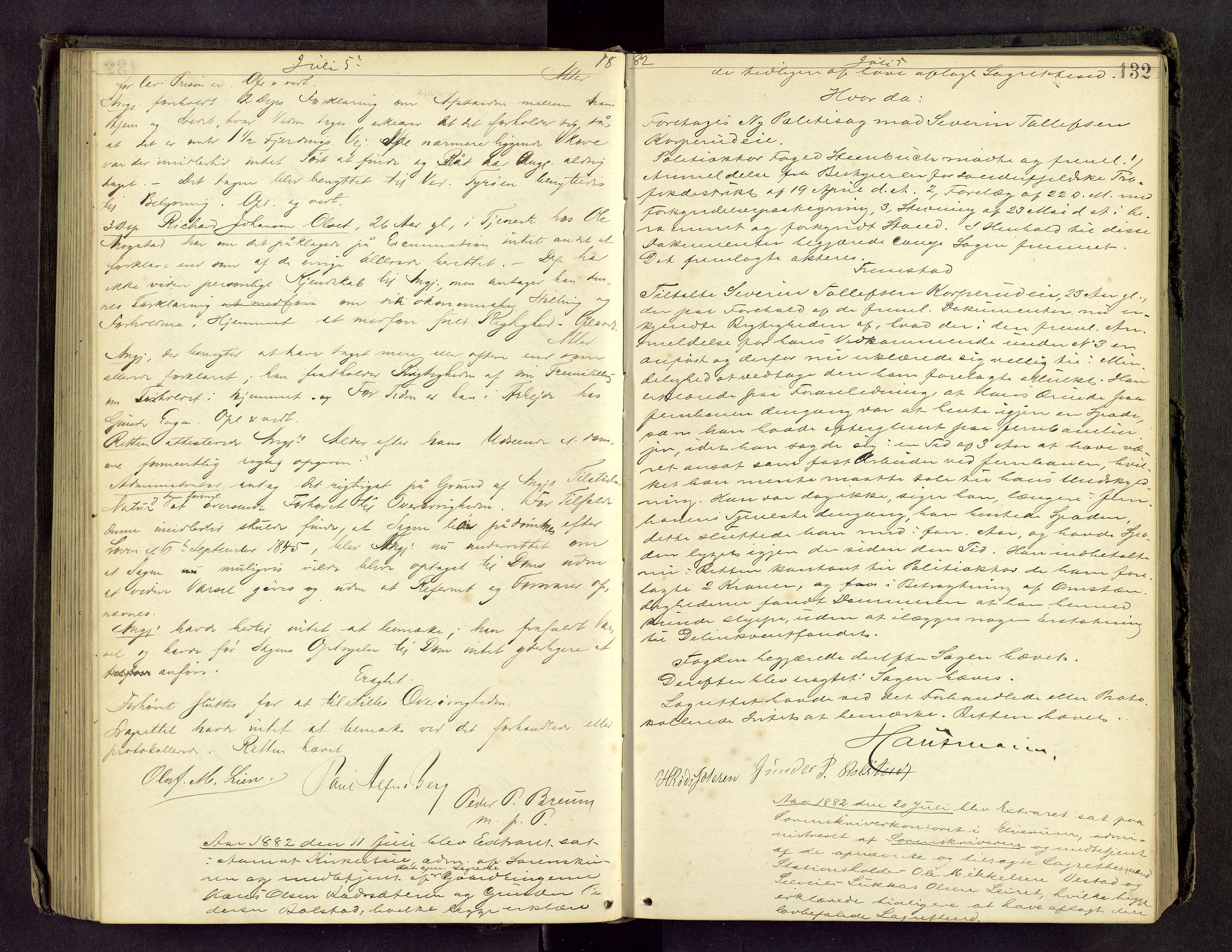 SAH, Sør-Østerdal sorenskriveri, G/Gc/L0019: Ekstrarettsprotokoll, 1881-1883, s. 131b-132a