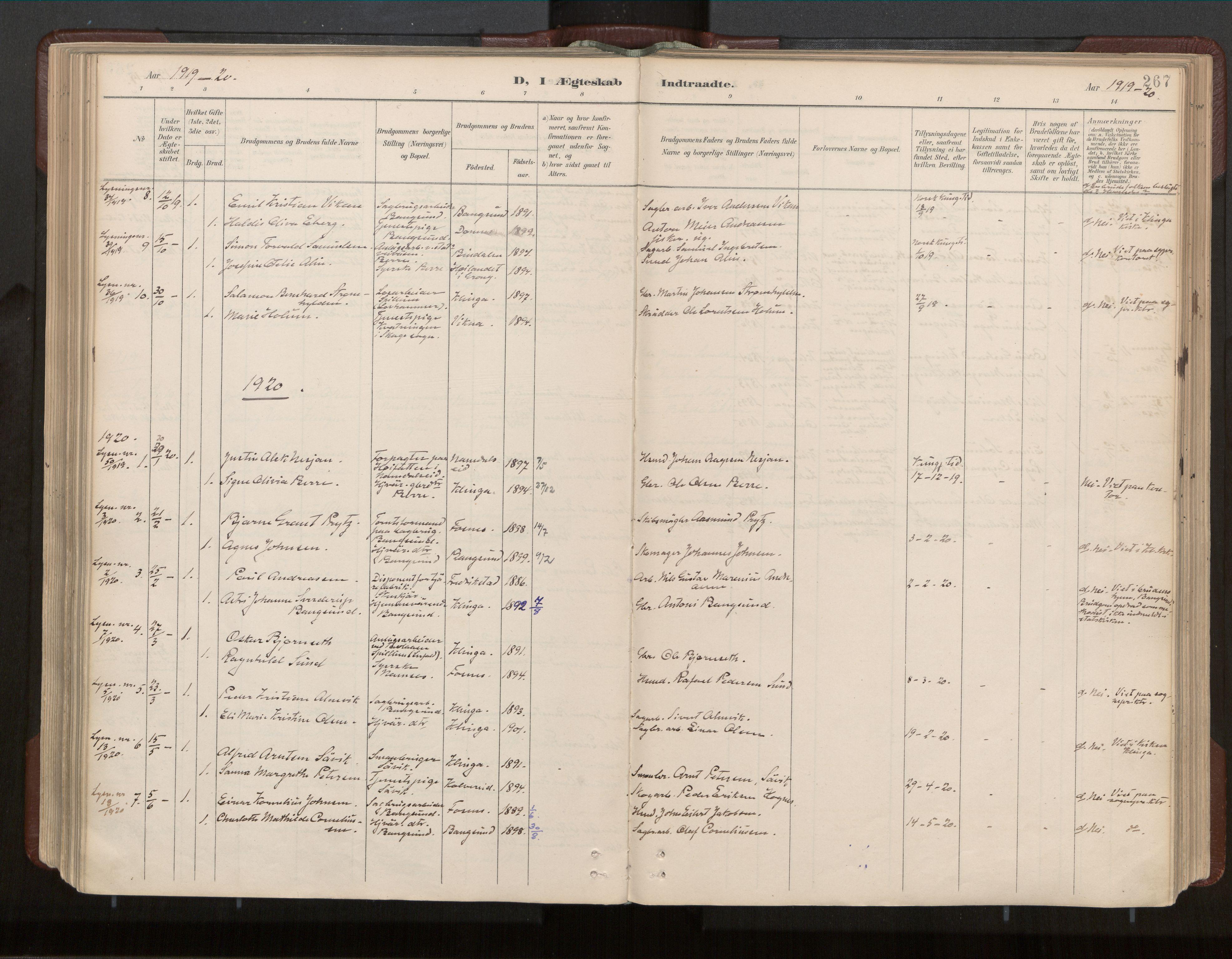 SAT, Ministerialprotokoller, klokkerbøker og fødselsregistre - Nord-Trøndelag, 770/L0589: Ministerialbok nr. 770A03, 1887-1929, s. 267