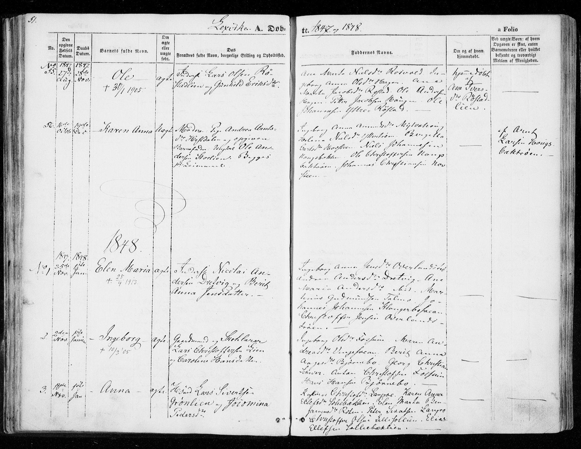 SAT, Ministerialprotokoller, klokkerbøker og fødselsregistre - Nord-Trøndelag, 701/L0007: Ministerialbok nr. 701A07 /1, 1842-1854, s. 51