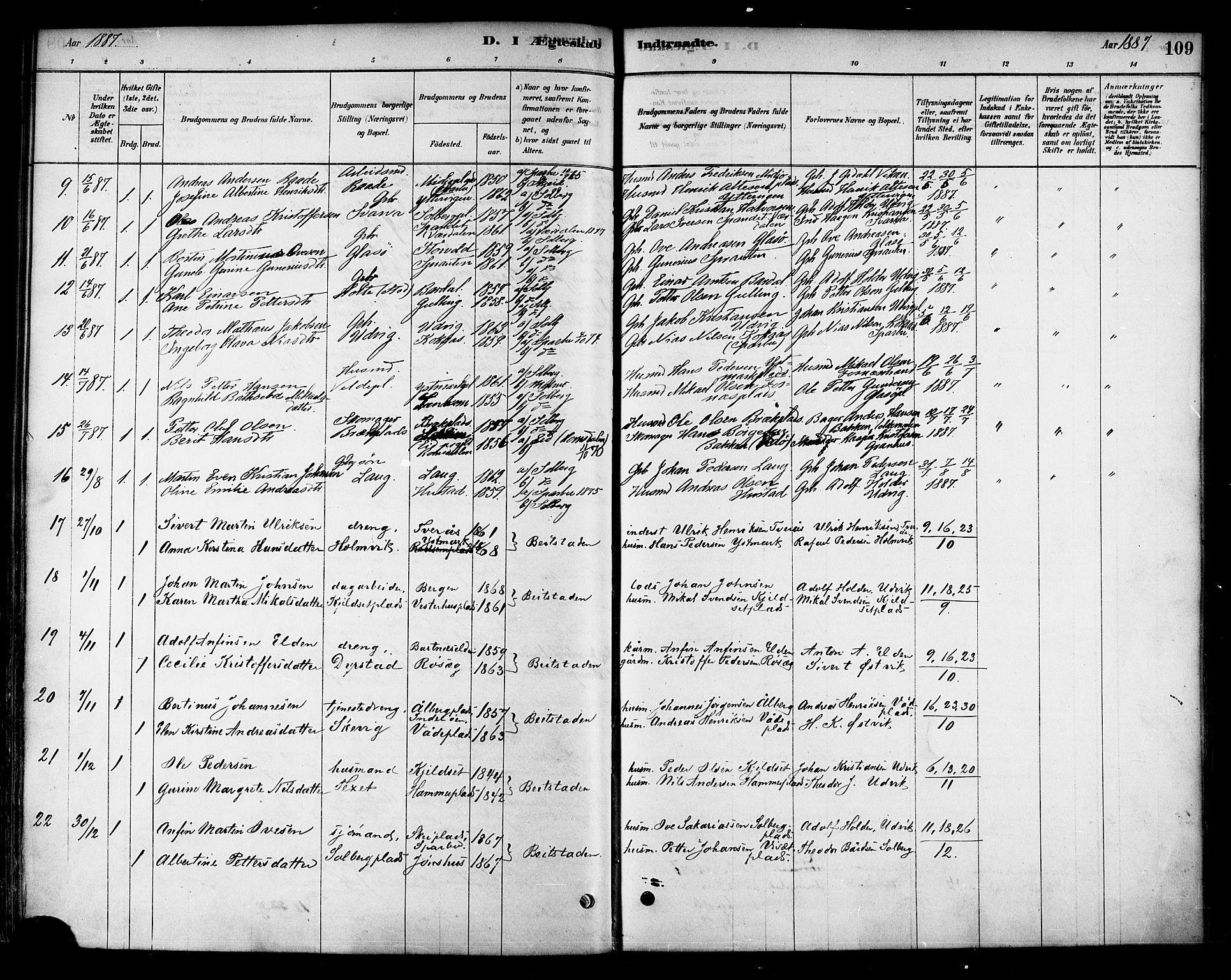 SAT, Ministerialprotokoller, klokkerbøker og fødselsregistre - Nord-Trøndelag, 741/L0395: Ministerialbok nr. 741A09, 1878-1888, s. 109