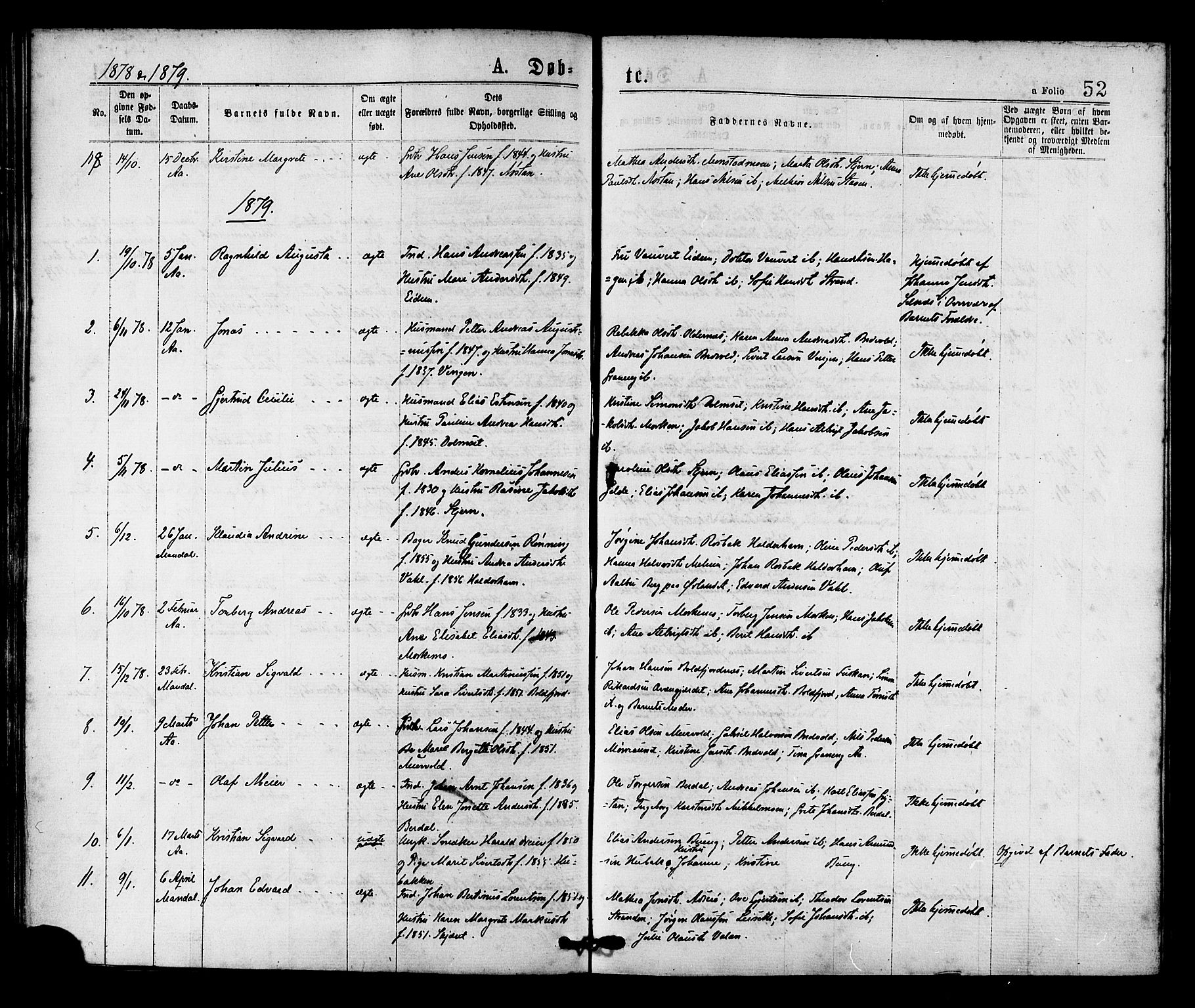 SAT, Ministerialprotokoller, klokkerbøker og fødselsregistre - Sør-Trøndelag, 655/L0679: Ministerialbok nr. 655A08, 1873-1879, s. 52