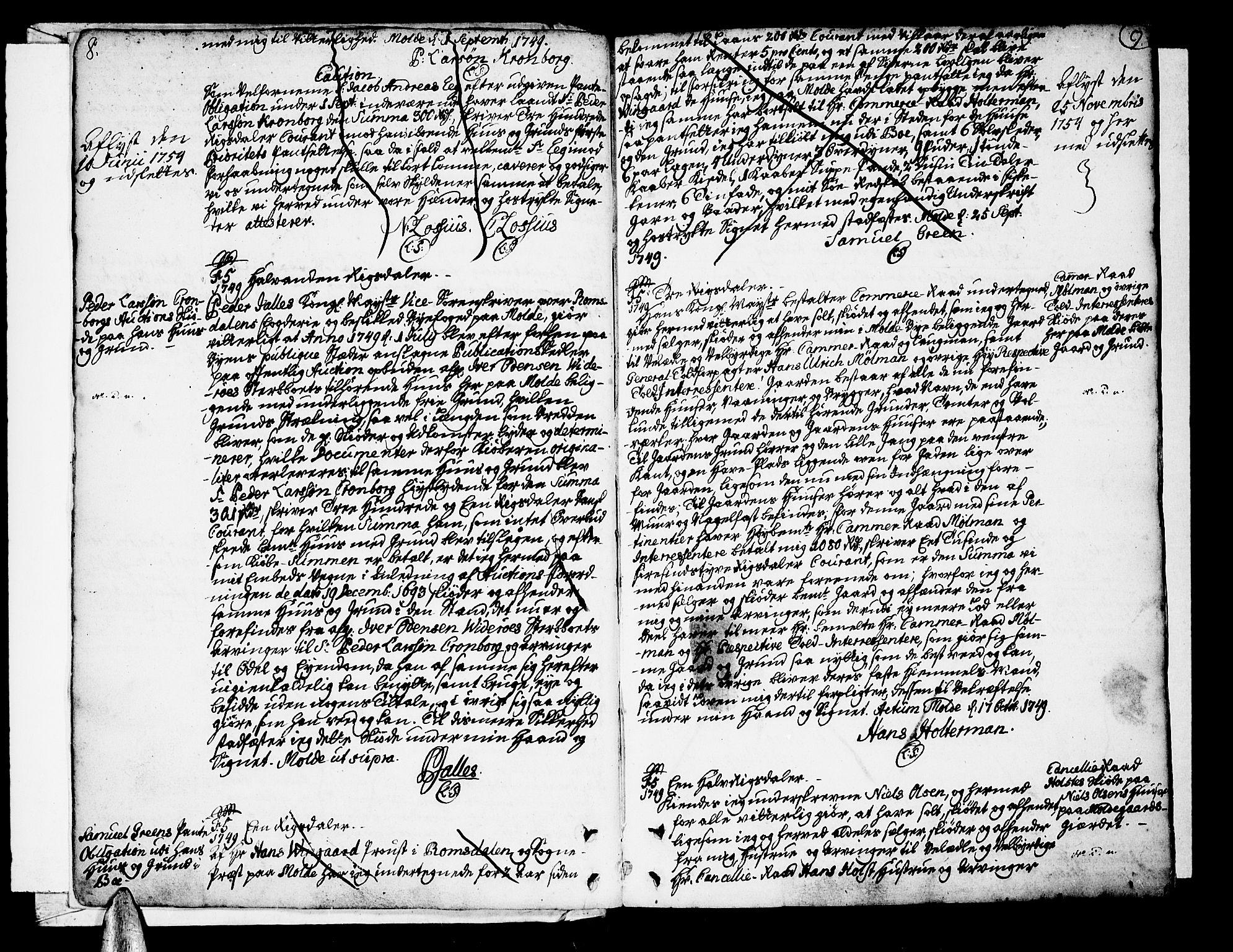 SAT, Molde byfogd, 2/2C/L0001: Pantebok nr. 1, 1748-1823, s. 8-9