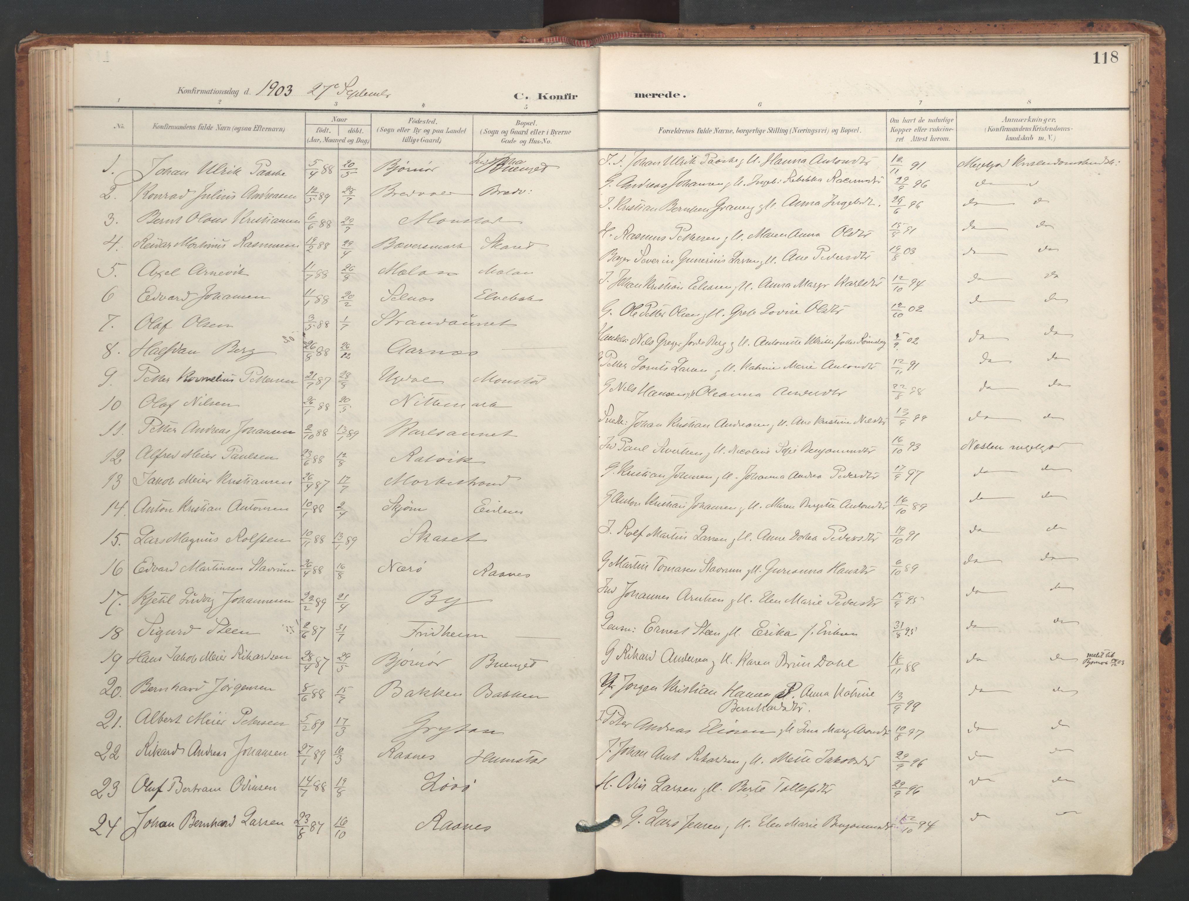 SAT, Ministerialprotokoller, klokkerbøker og fødselsregistre - Sør-Trøndelag, 655/L0681: Ministerialbok nr. 655A10, 1895-1907, s. 118