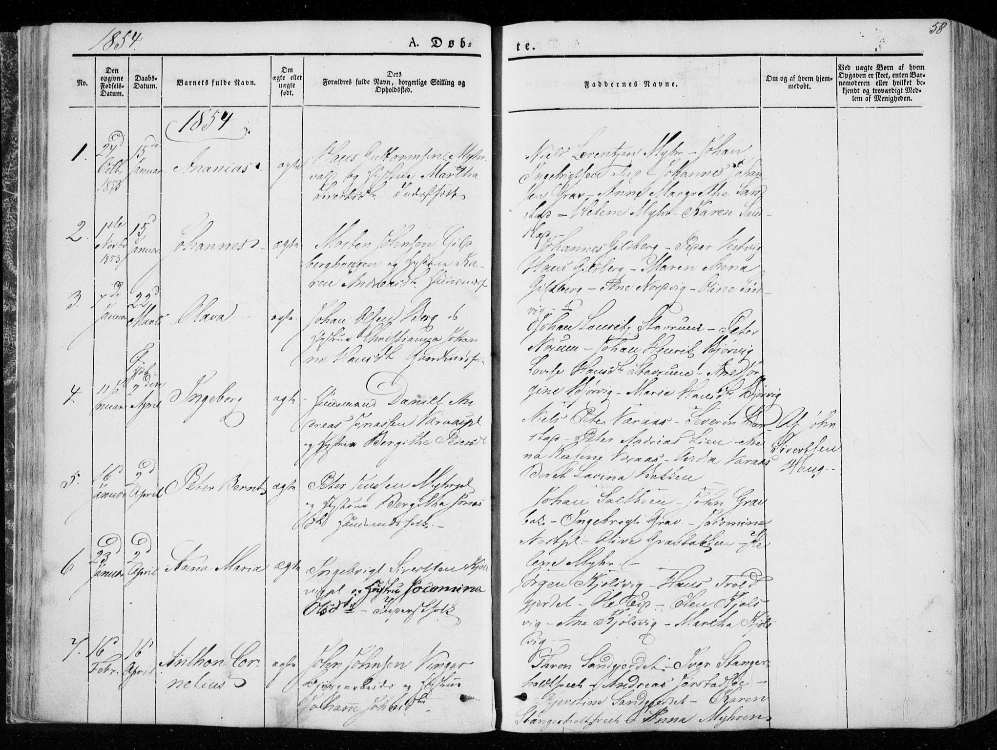 SAT, Ministerialprotokoller, klokkerbøker og fødselsregistre - Nord-Trøndelag, 722/L0218: Ministerialbok nr. 722A05, 1843-1868, s. 58