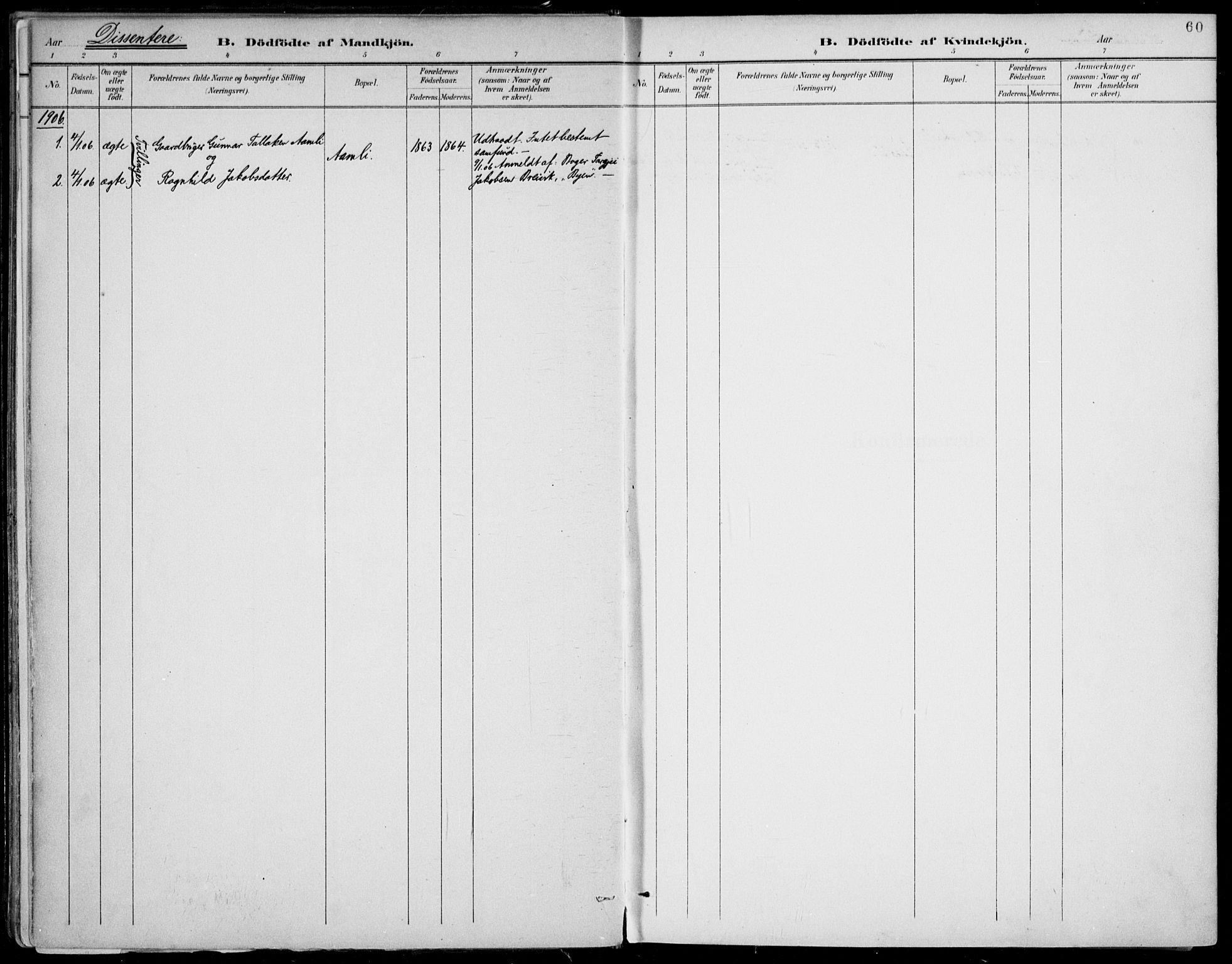 SAKO, Fyresdal kirkebøker, F/Fa/L0007: Ministerialbok nr. I 7, 1887-1914, s. 60