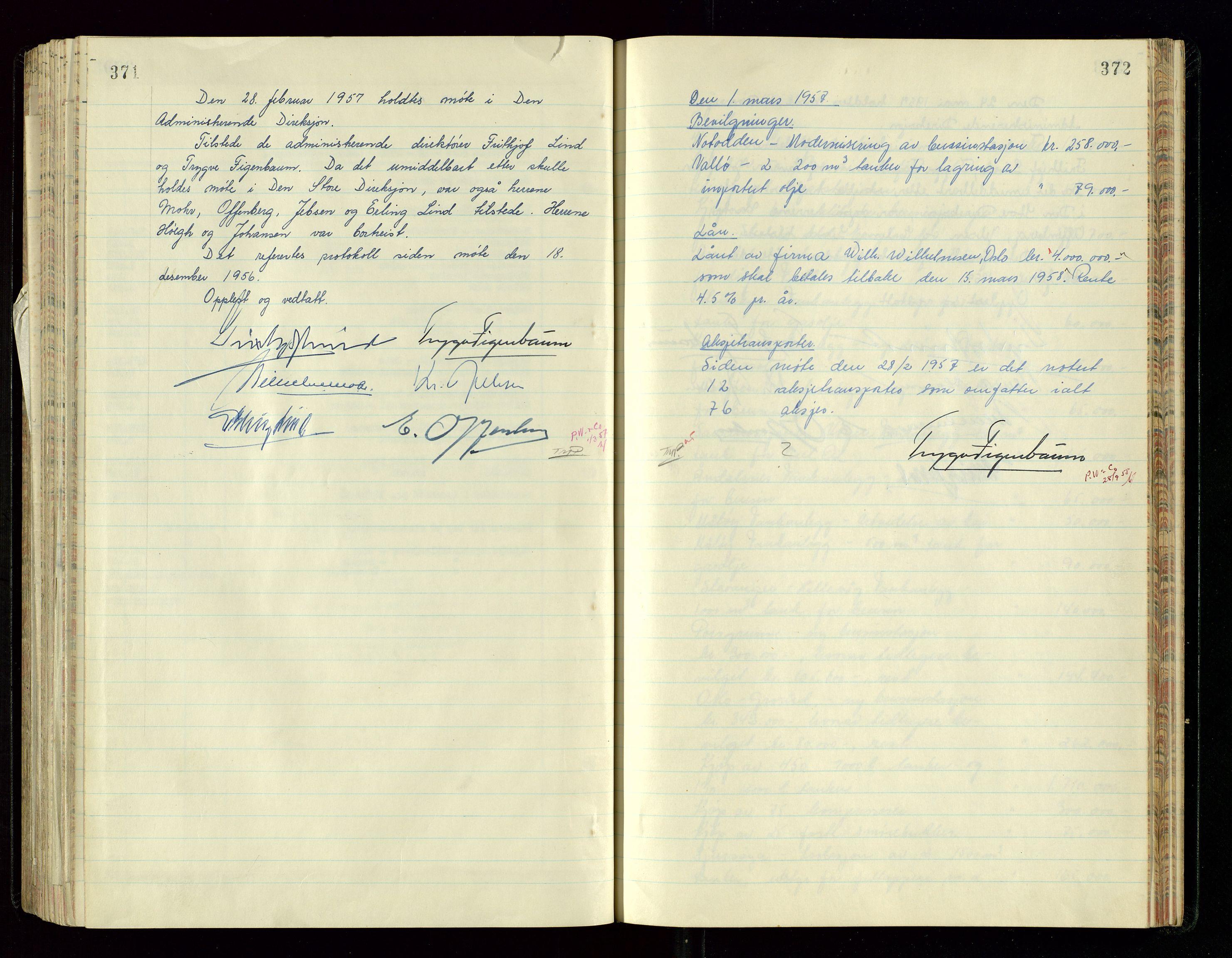 SAST, PA 1534 - Østlandske Petroleumscompagni A/S, A/Aa/L0005: Direksjonsprotokoller, 1943-1958, s. 371-372