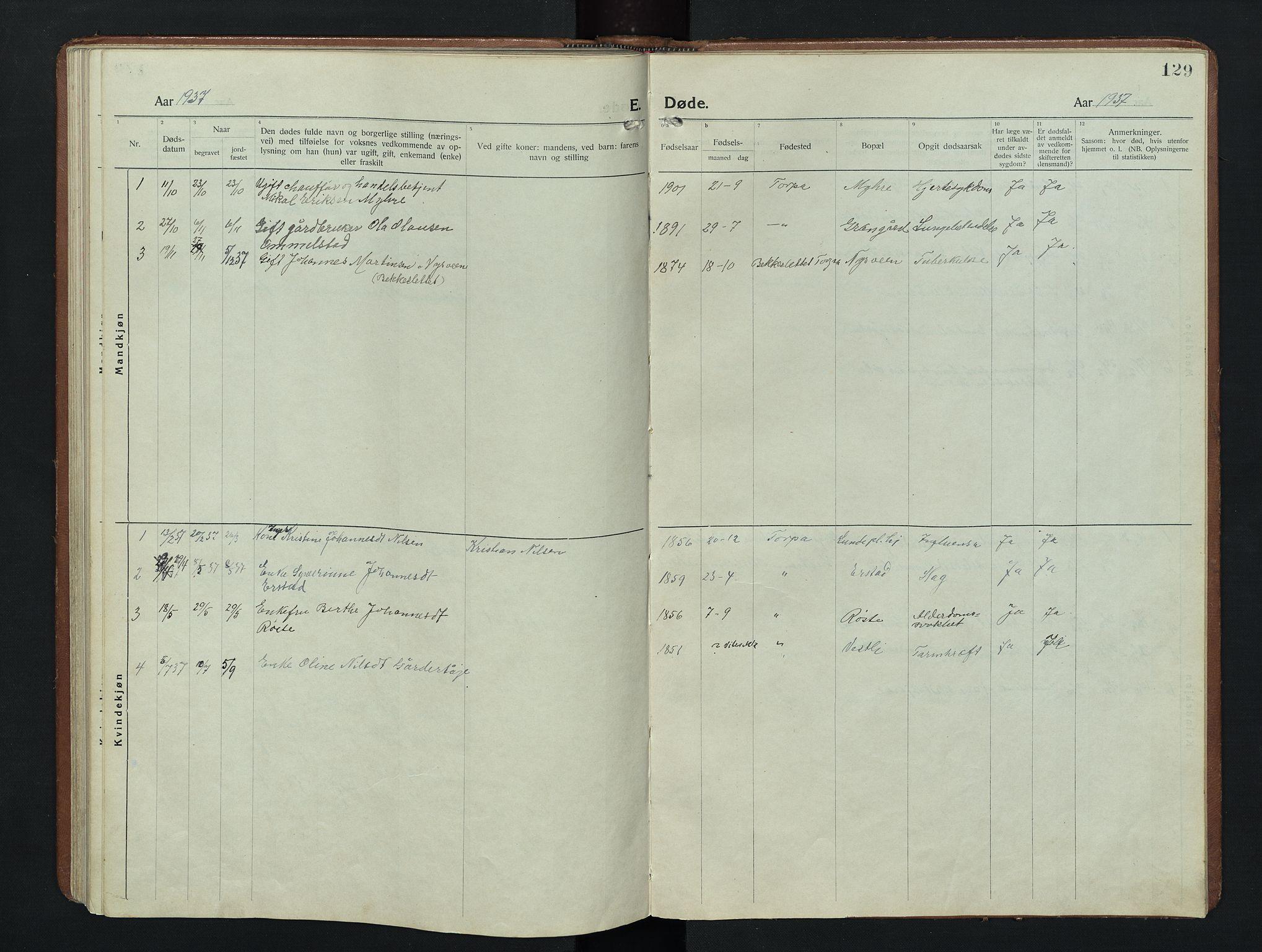 SAH, Nordre Land prestekontor, Klokkerbok nr. 9, 1921-1956, s. 129