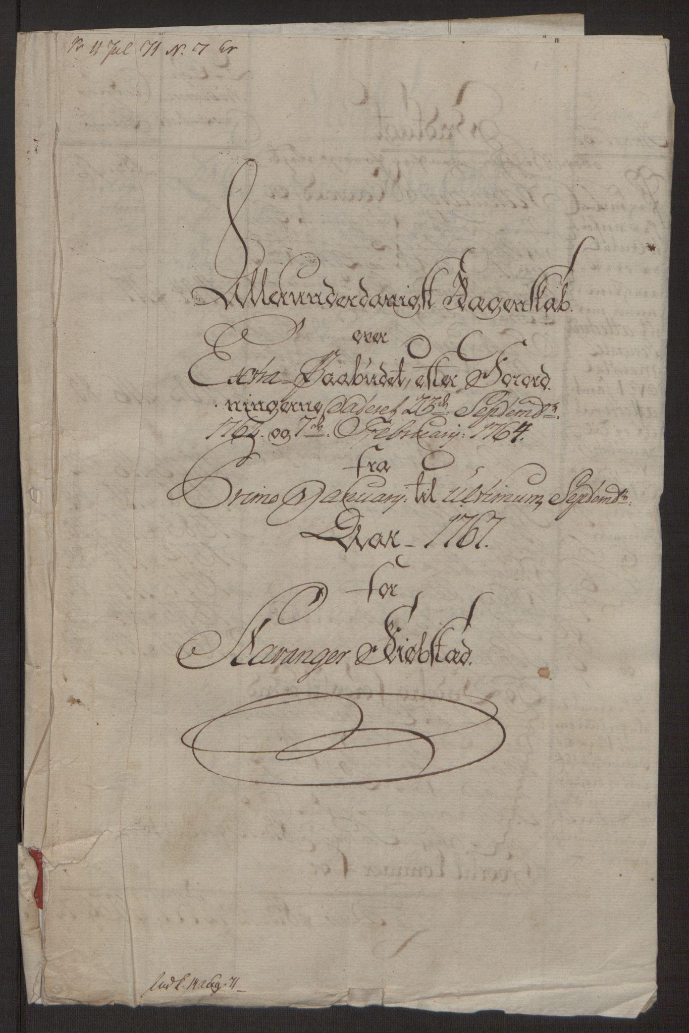 RA, Rentekammeret inntil 1814, Reviderte regnskaper, Byregnskaper, R/Ro/L0305: [O6] Kontribusjonsregnskap, 1762-1768, s. 208