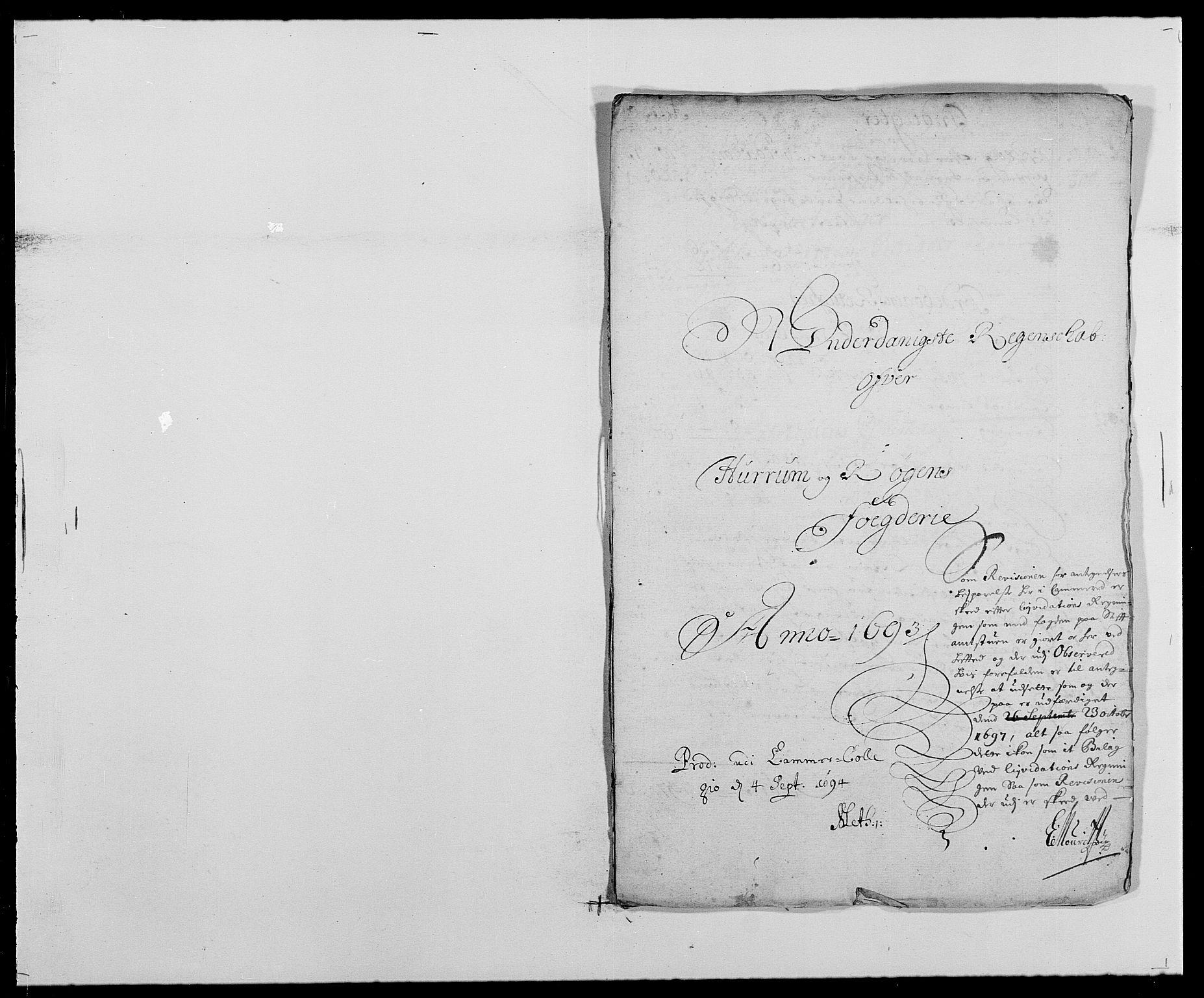 RA, Rentekammeret inntil 1814, Reviderte regnskaper, Fogderegnskap, R29/L1693: Fogderegnskap Hurum og Røyken, 1688-1693, s. 474