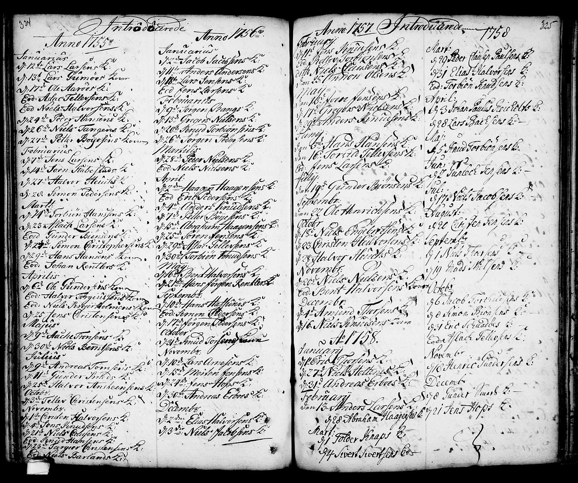 SAKO, Kragerø kirkebøker, F/Fa/L0001: Ministerialbok nr. 1, 1702-1766, s. 324-325