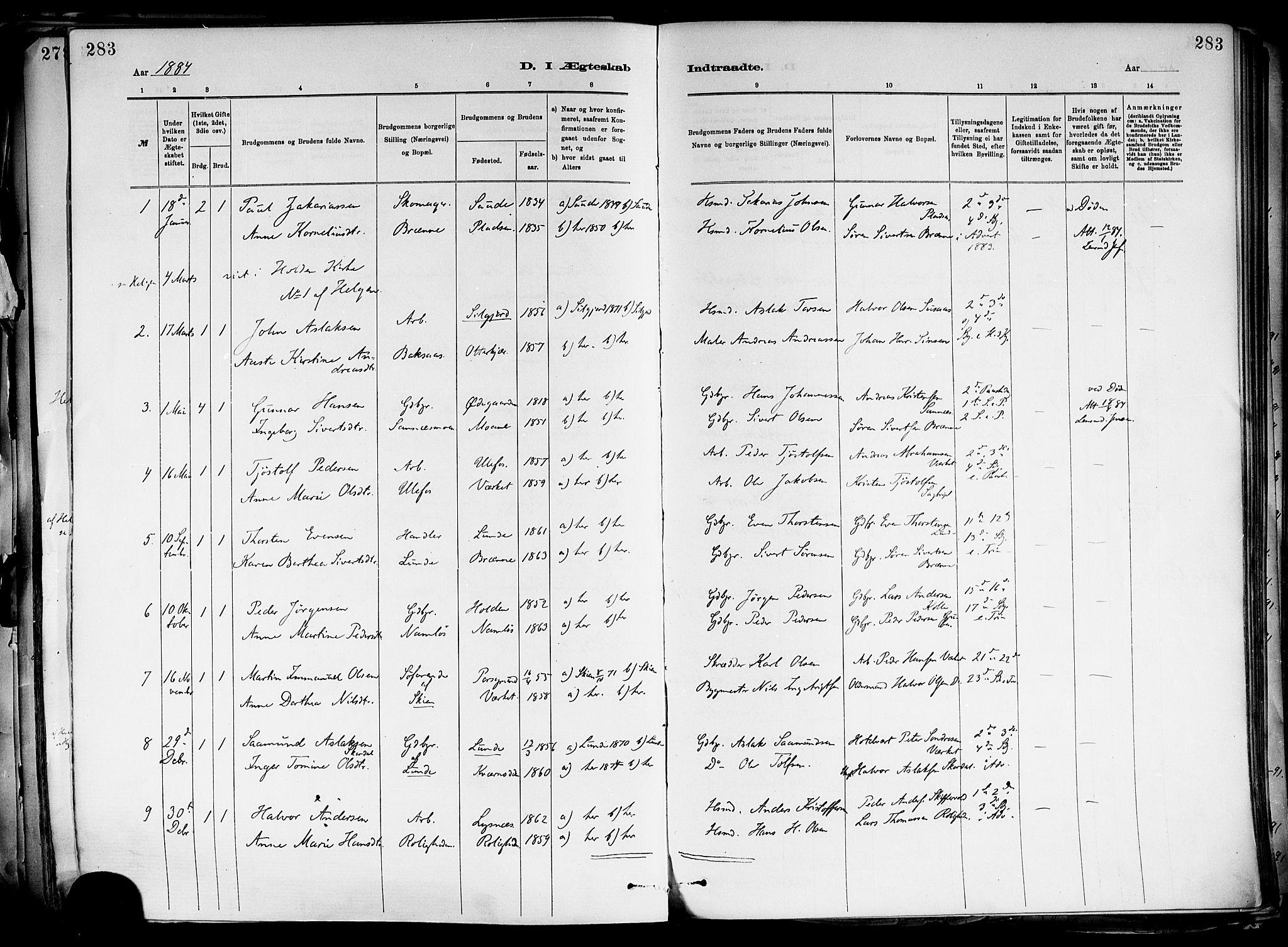 SAKO, Holla kirkebøker, F/Fa/L0008: Ministerialbok nr. 8, 1882-1897, s. 283