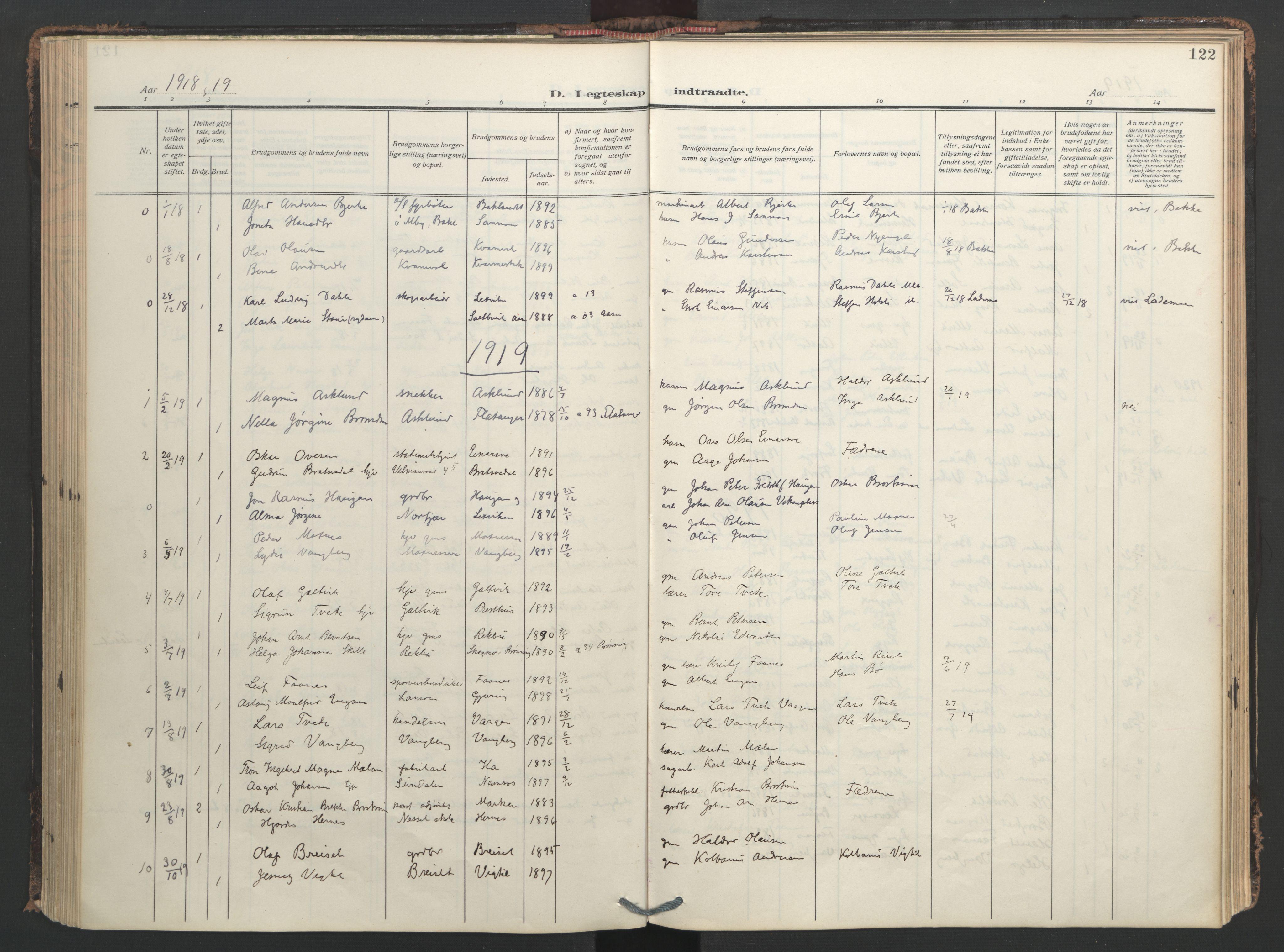 SAT, Ministerialprotokoller, klokkerbøker og fødselsregistre - Nord-Trøndelag, 713/L0123: Ministerialbok nr. 713A12, 1911-1925, s. 122