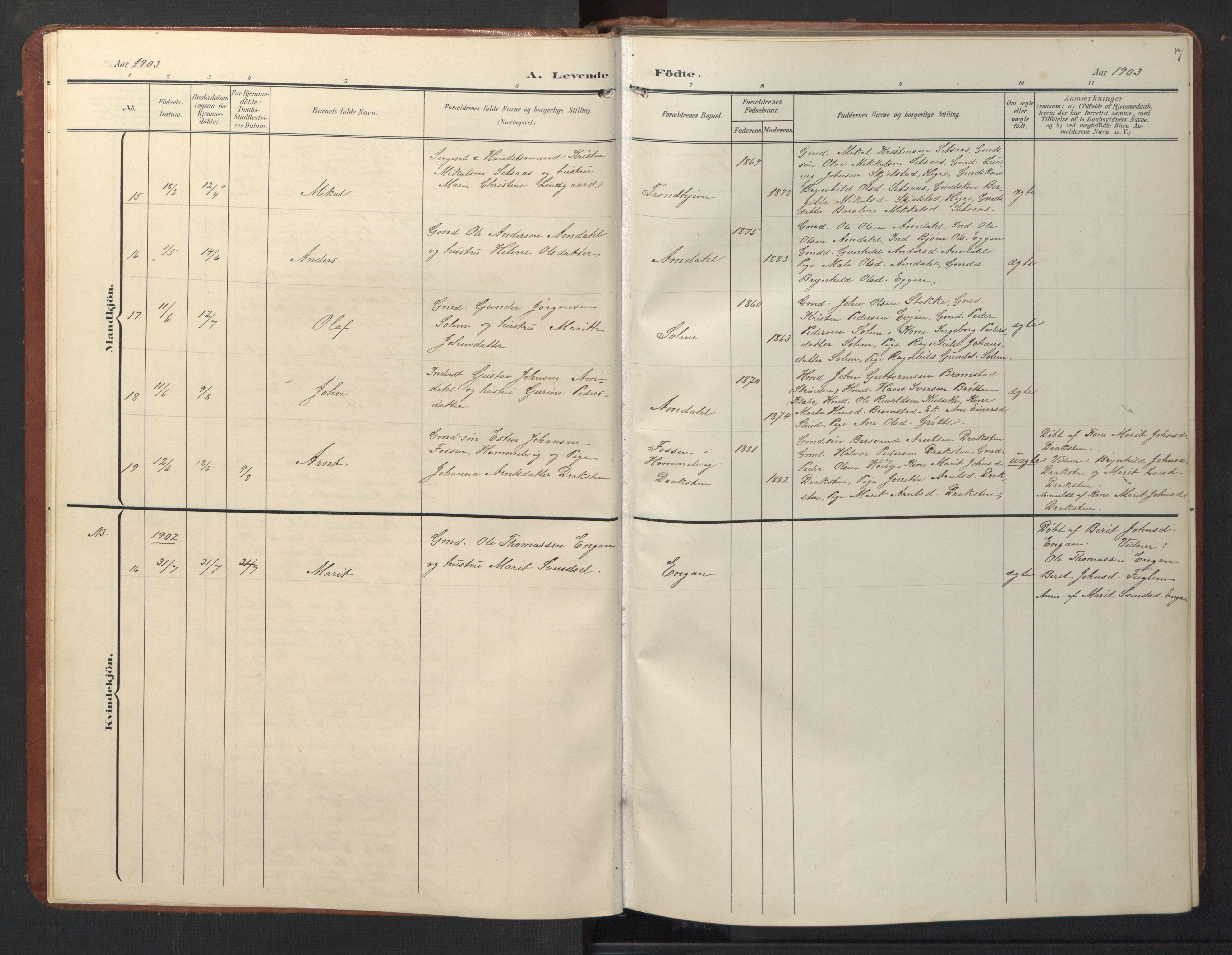 SAT, Ministerialprotokoller, klokkerbøker og fødselsregistre - Sør-Trøndelag, 696/L1161: Klokkerbok nr. 696C01, 1902-1950, s. 7