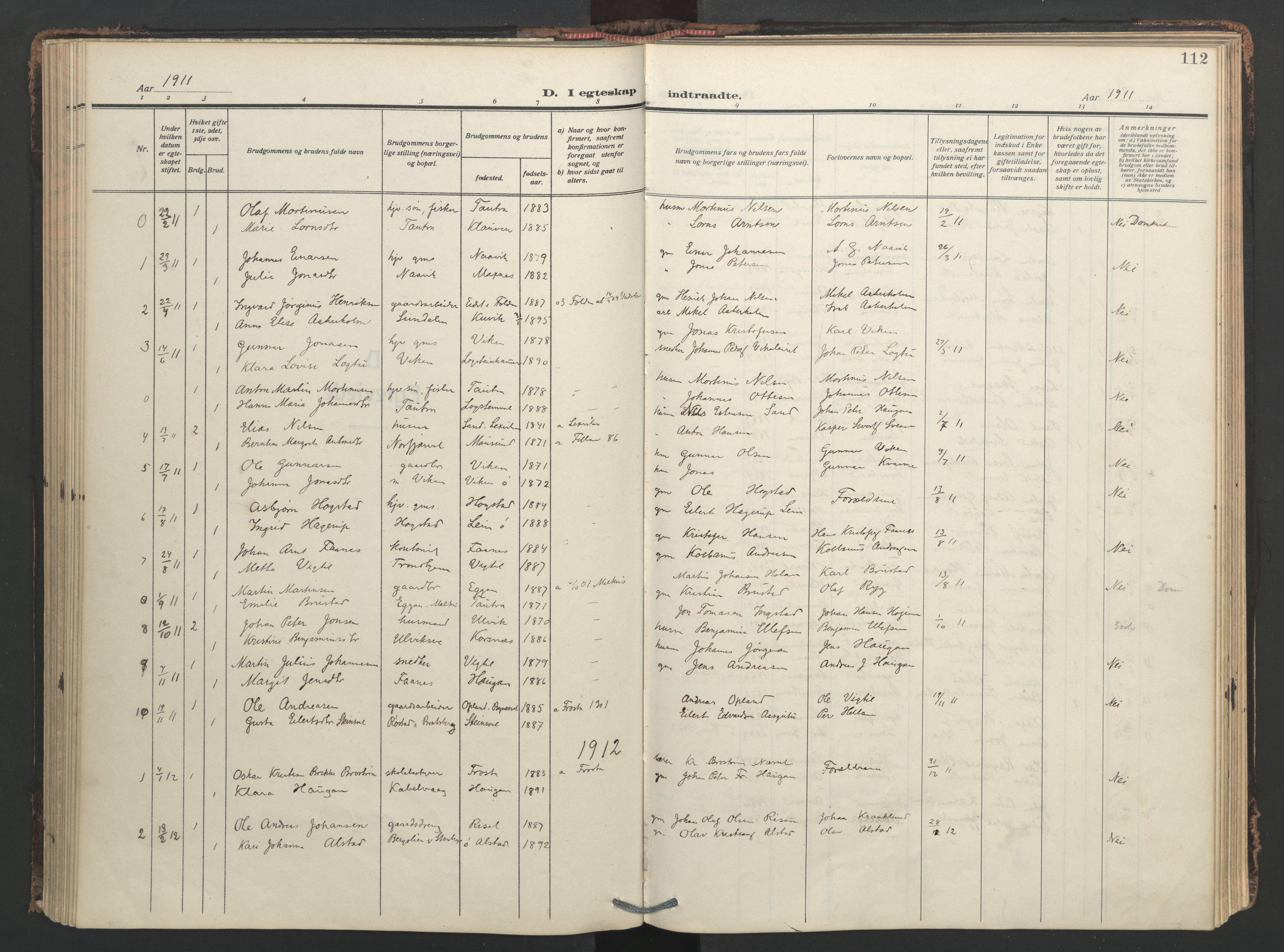 SAT, Ministerialprotokoller, klokkerbøker og fødselsregistre - Nord-Trøndelag, 713/L0123: Ministerialbok nr. 713A12, 1911-1925, s. 112