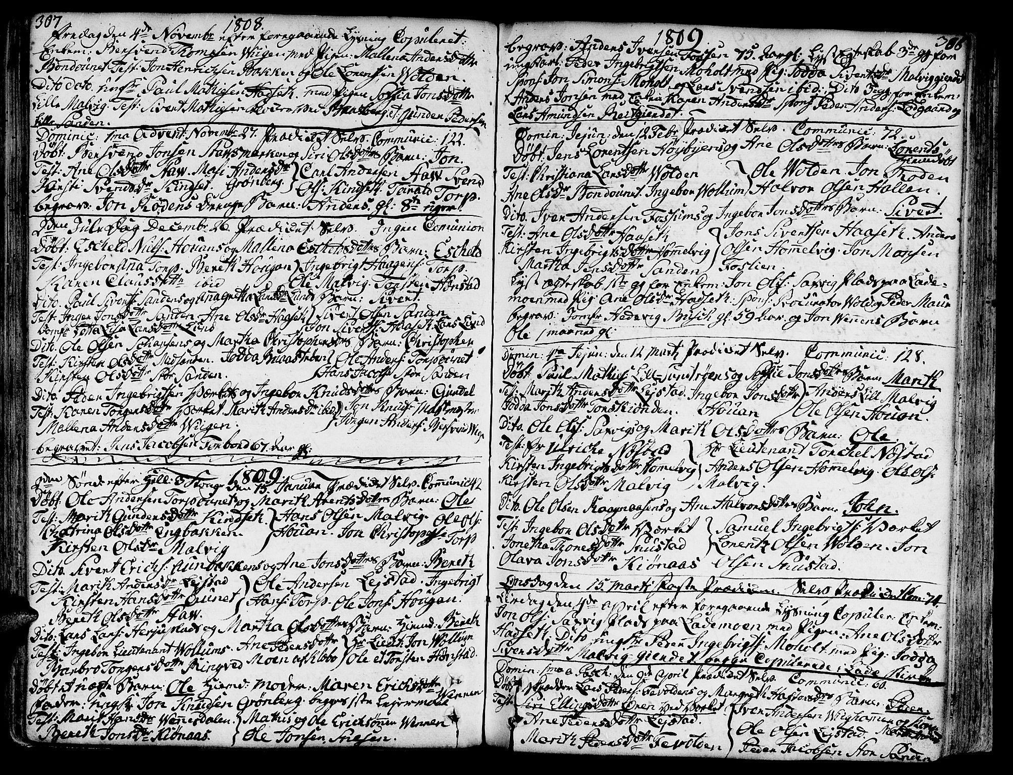 SAT, Ministerialprotokoller, klokkerbøker og fødselsregistre - Sør-Trøndelag, 606/L0281: Ministerialbok nr. 606A02 /2, 1781-1817, s. 307-308