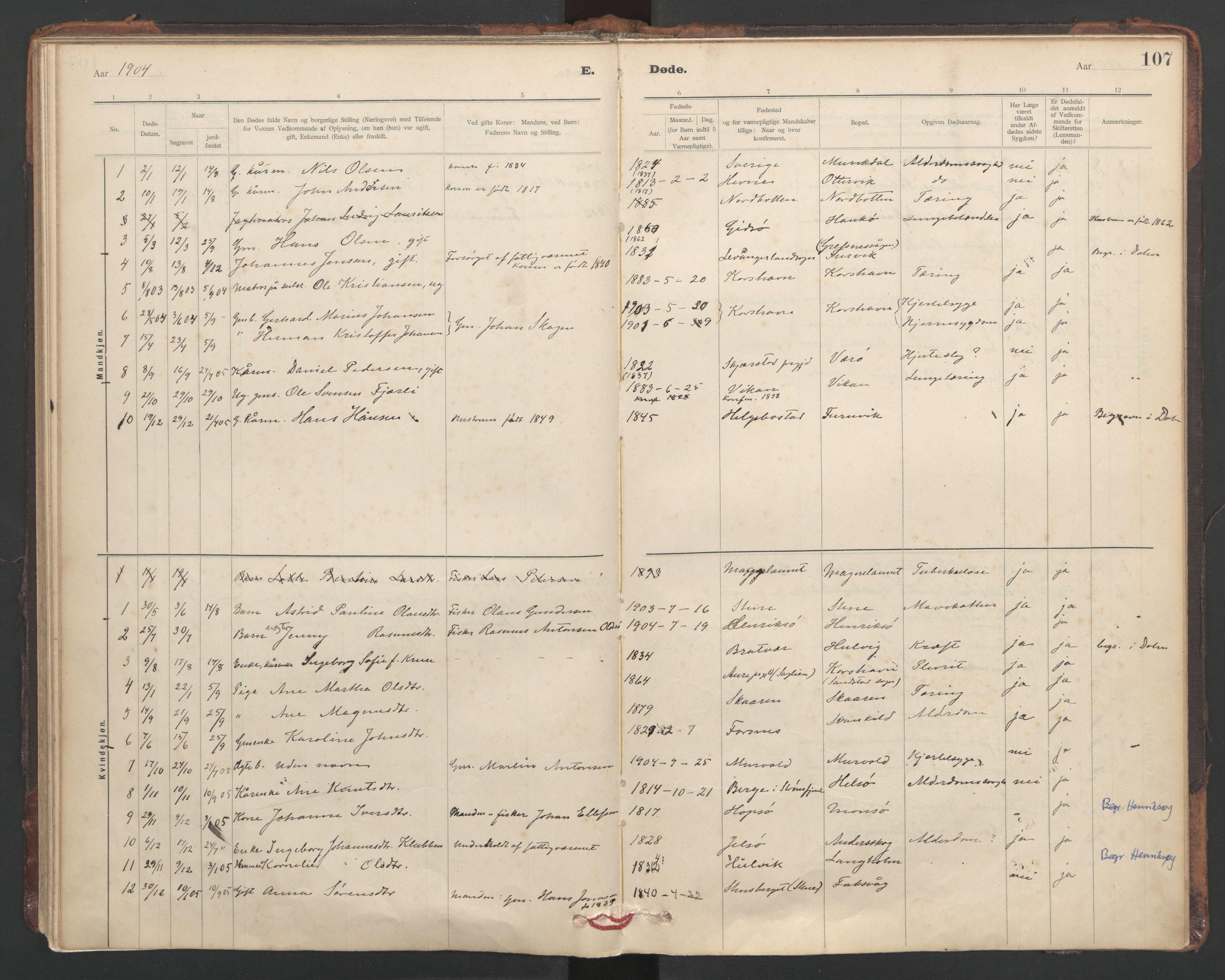 SAT, Ministerialprotokoller, klokkerbøker og fødselsregistre - Sør-Trøndelag, 635/L0552: Ministerialbok nr. 635A02, 1899-1919, s. 107