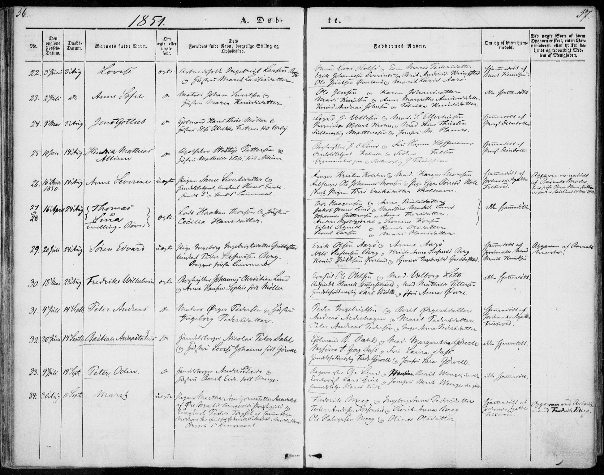SAT, Ministerialprotokoller, klokkerbøker og fødselsregistre - Møre og Romsdal, 558/L0689: Ministerialbok nr. 558A03, 1843-1872, s. 56-57