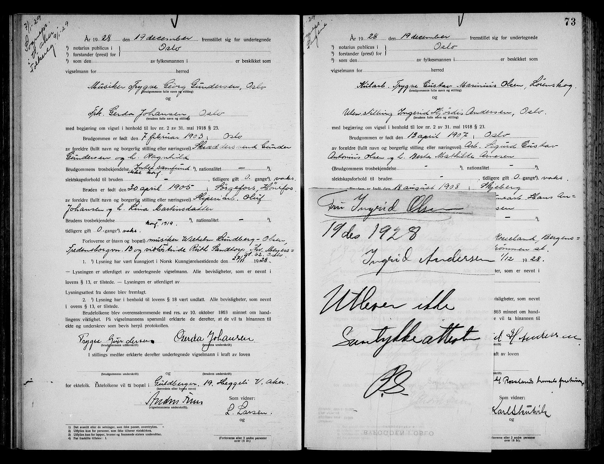 SAO, Oslo byfogd avd. I, L/Lb/Lbb/L0019: Notarialprotokoll, rekke II: Vigsler, 1928-1929, s. 72b-73a