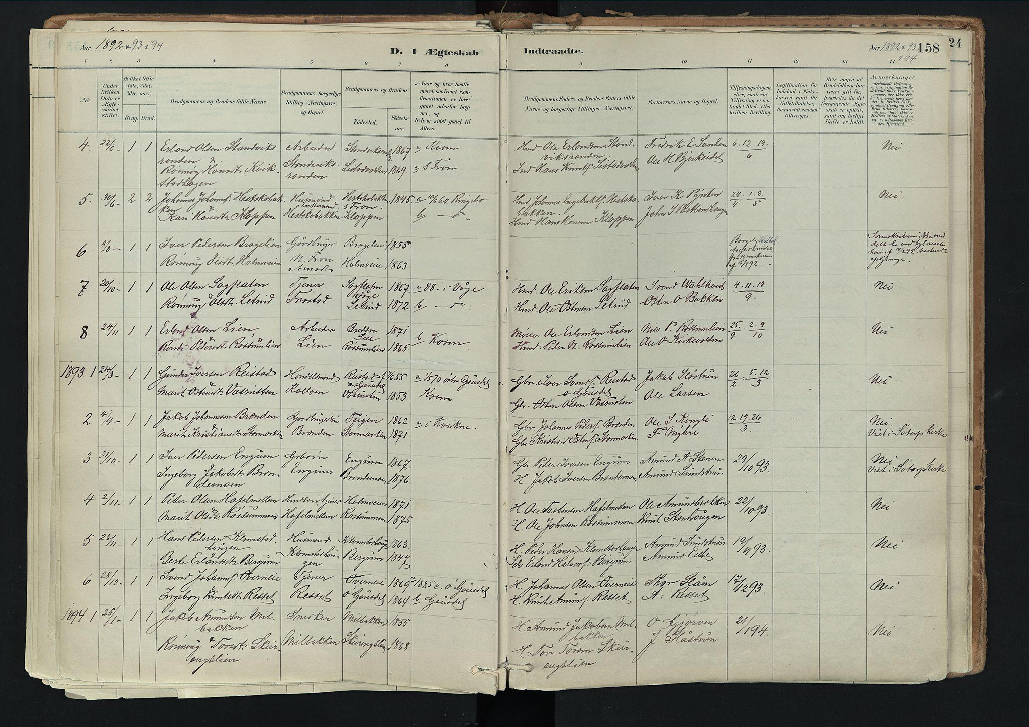 SAH, Nord-Fron prestekontor, Ministerialbok nr. 3, 1884-1914, s. 158