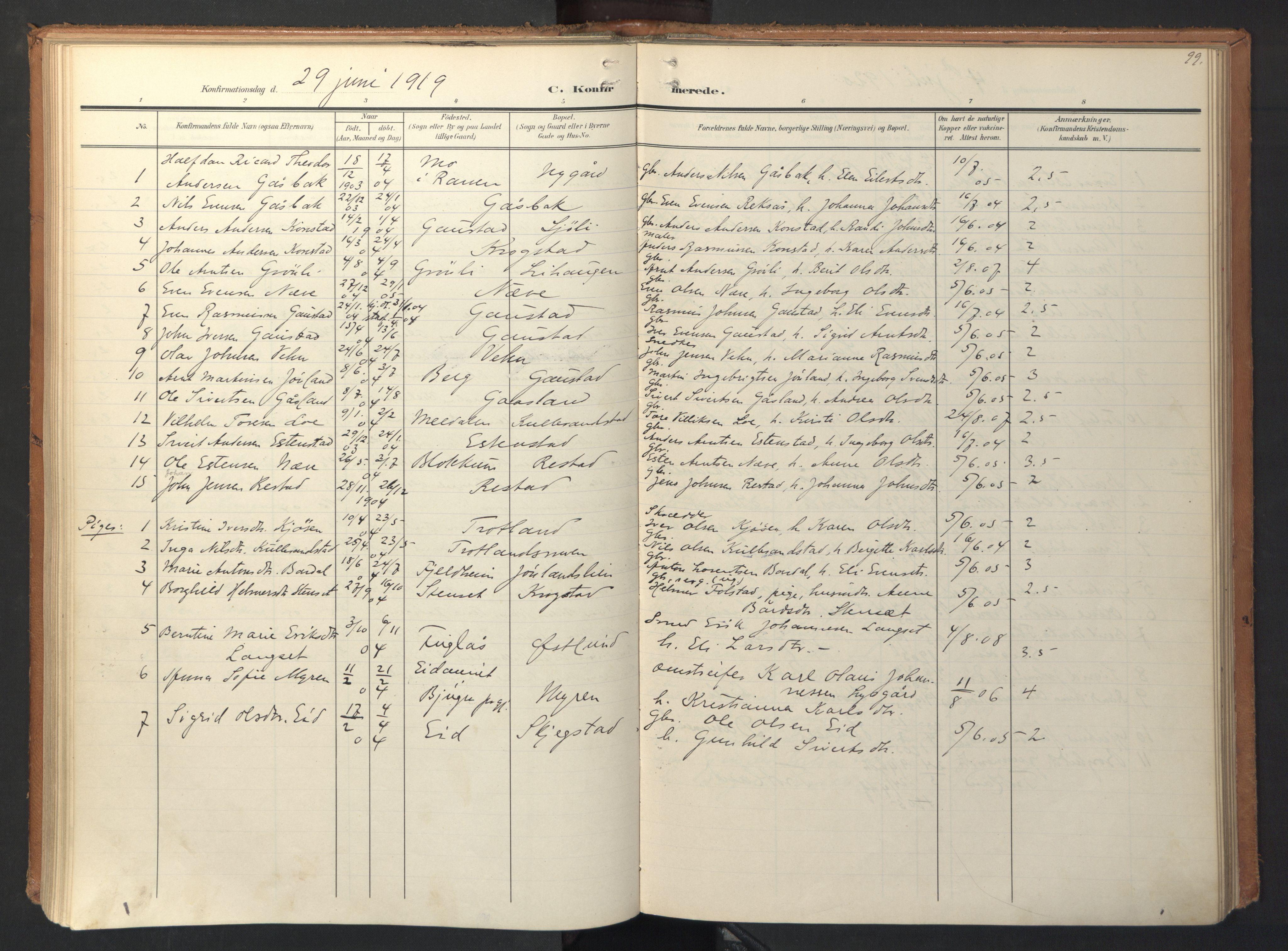 SAT, Ministerialprotokoller, klokkerbøker og fødselsregistre - Sør-Trøndelag, 694/L1128: Ministerialbok nr. 694A02, 1906-1931, s. 99