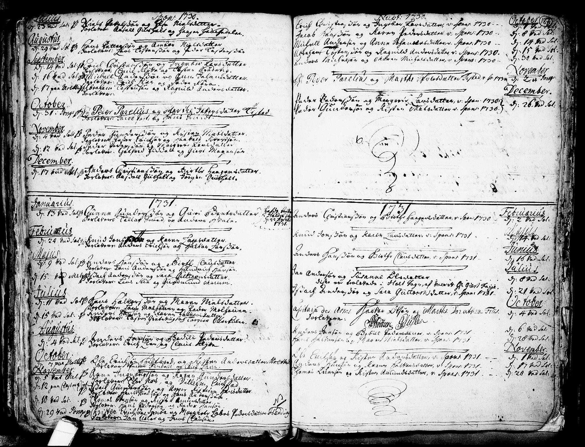 SAKO, Solum kirkebøker, F/Fa/L0002: Ministerialbok nr. I 2, 1713-1761, s. 187