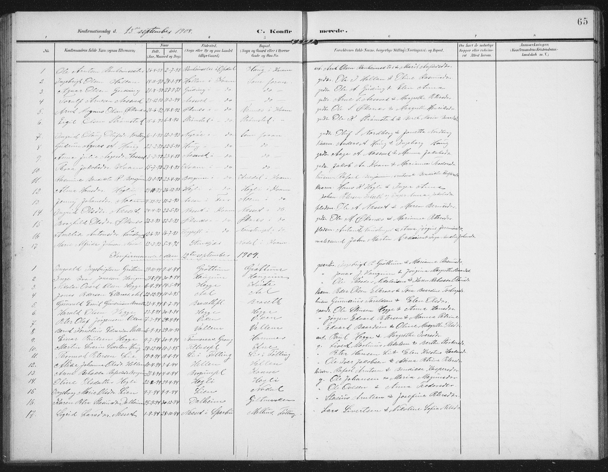 SAT, Ministerialprotokoller, klokkerbøker og fødselsregistre - Nord-Trøndelag, 747/L0460: Klokkerbok nr. 747C02, 1908-1939, s. 65