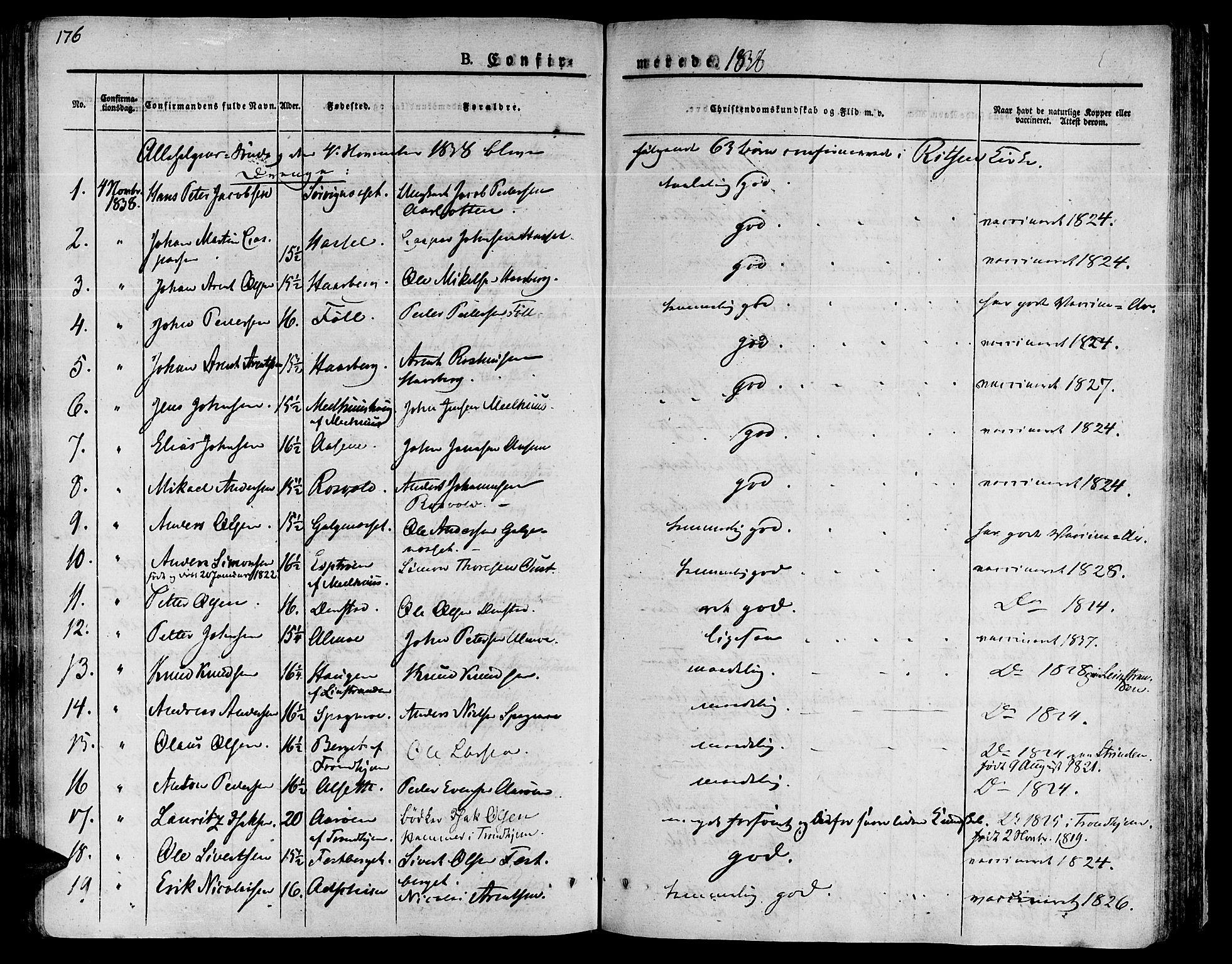 SAT, Ministerialprotokoller, klokkerbøker og fødselsregistre - Sør-Trøndelag, 646/L0609: Ministerialbok nr. 646A07, 1826-1838, s. 176