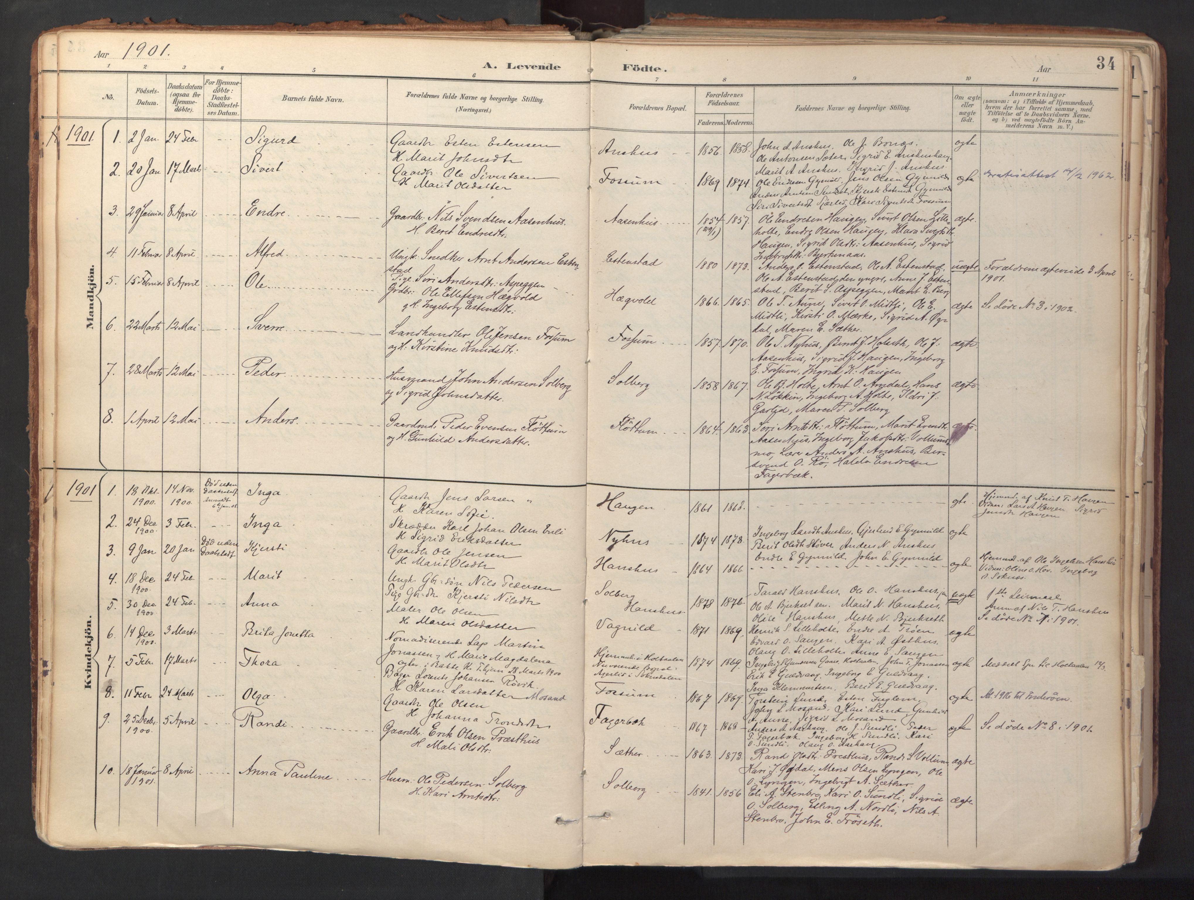 SAT, Ministerialprotokoller, klokkerbøker og fødselsregistre - Sør-Trøndelag, 689/L1041: Ministerialbok nr. 689A06, 1891-1923, s. 34