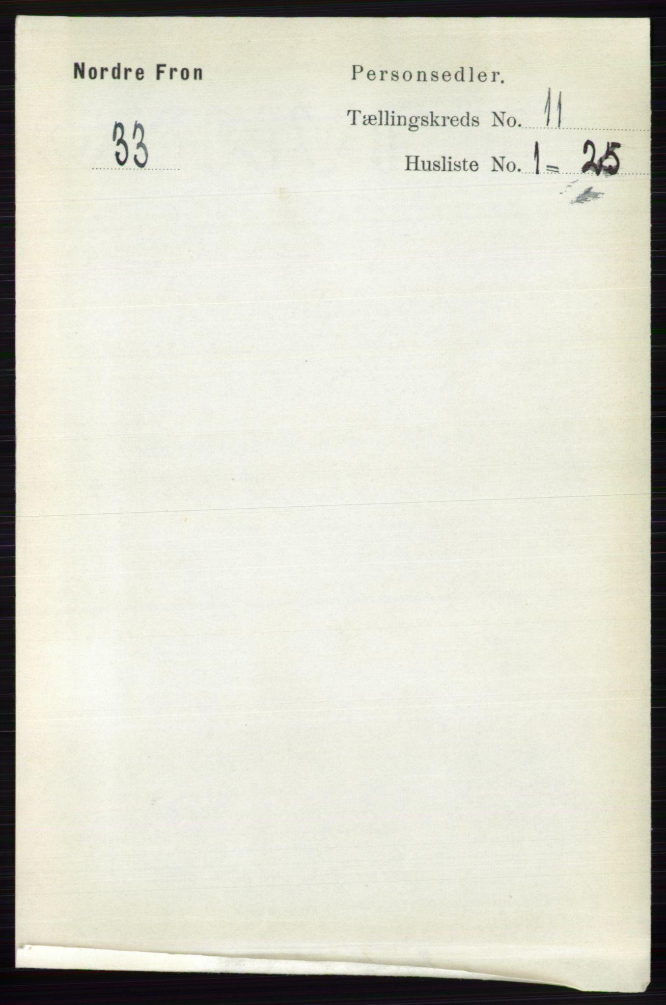 RA, Folketelling 1891 for 0518 Nord-Fron herred, 1891, s. 4829
