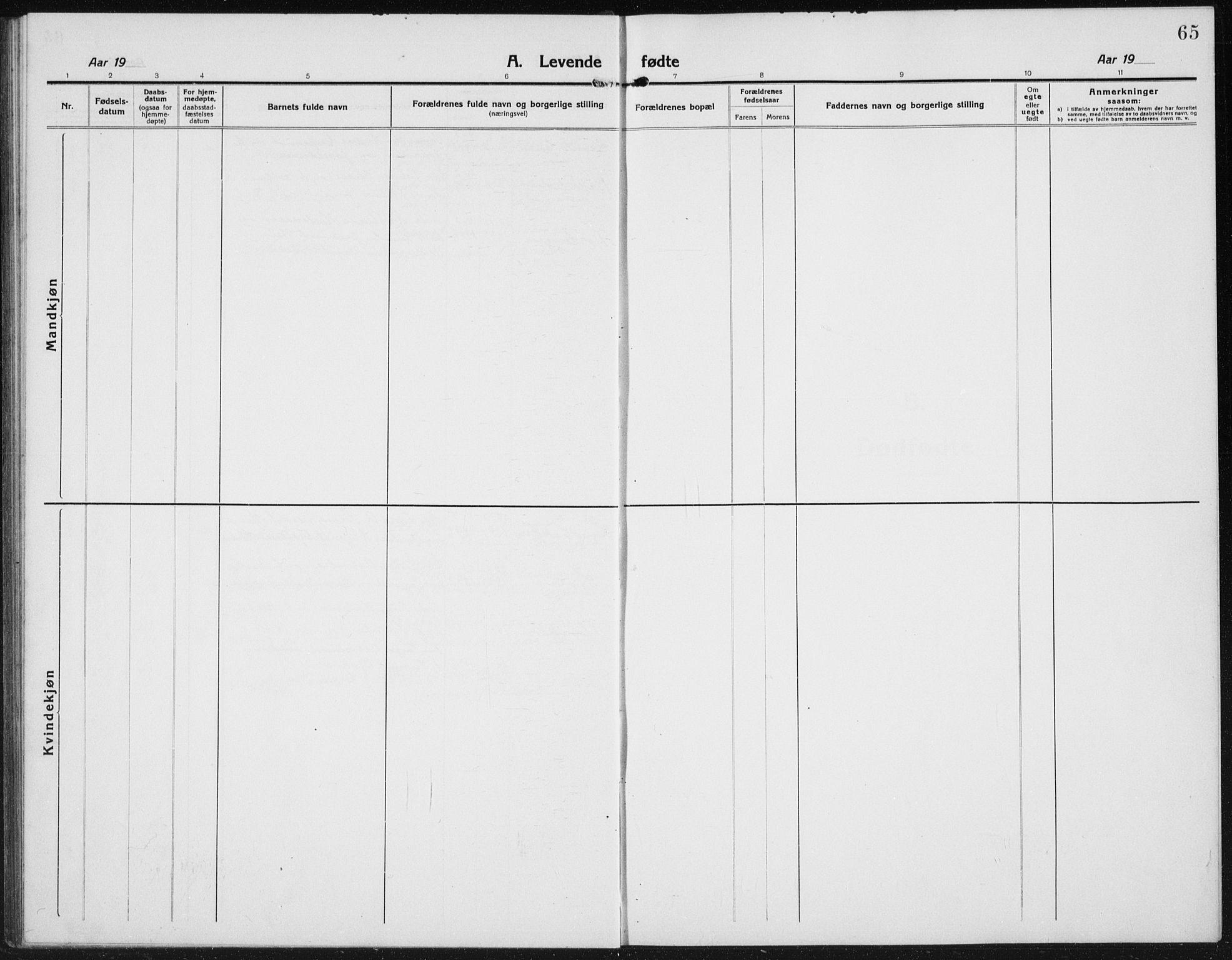 SAH, Kolbu prestekontor, Klokkerbok nr. 6, 1916-1934, s. 65