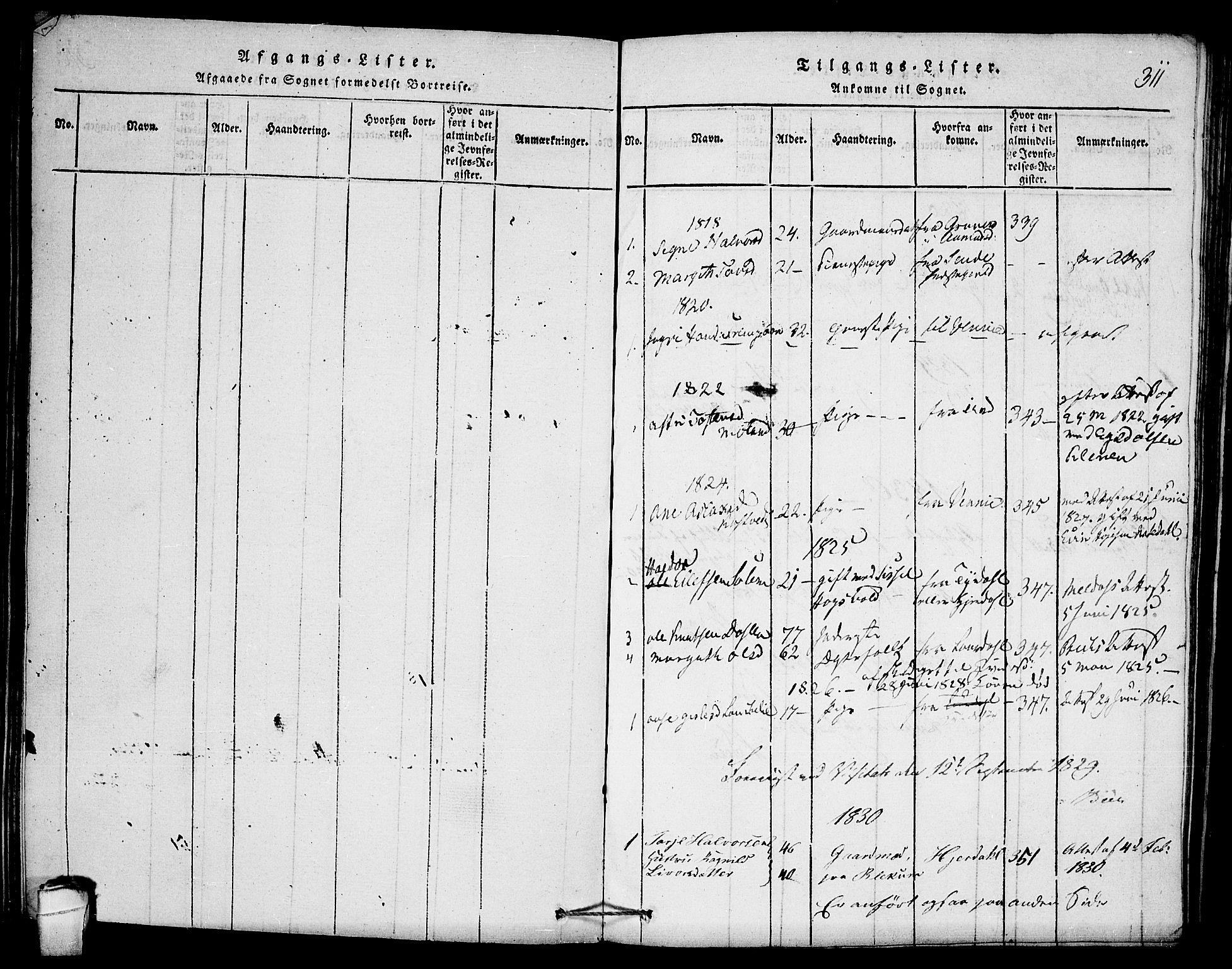 SAKO, Seljord kirkebøker, F/Fb/L0001: Ministerialbok nr. II 1, 1815-1831, s. 311