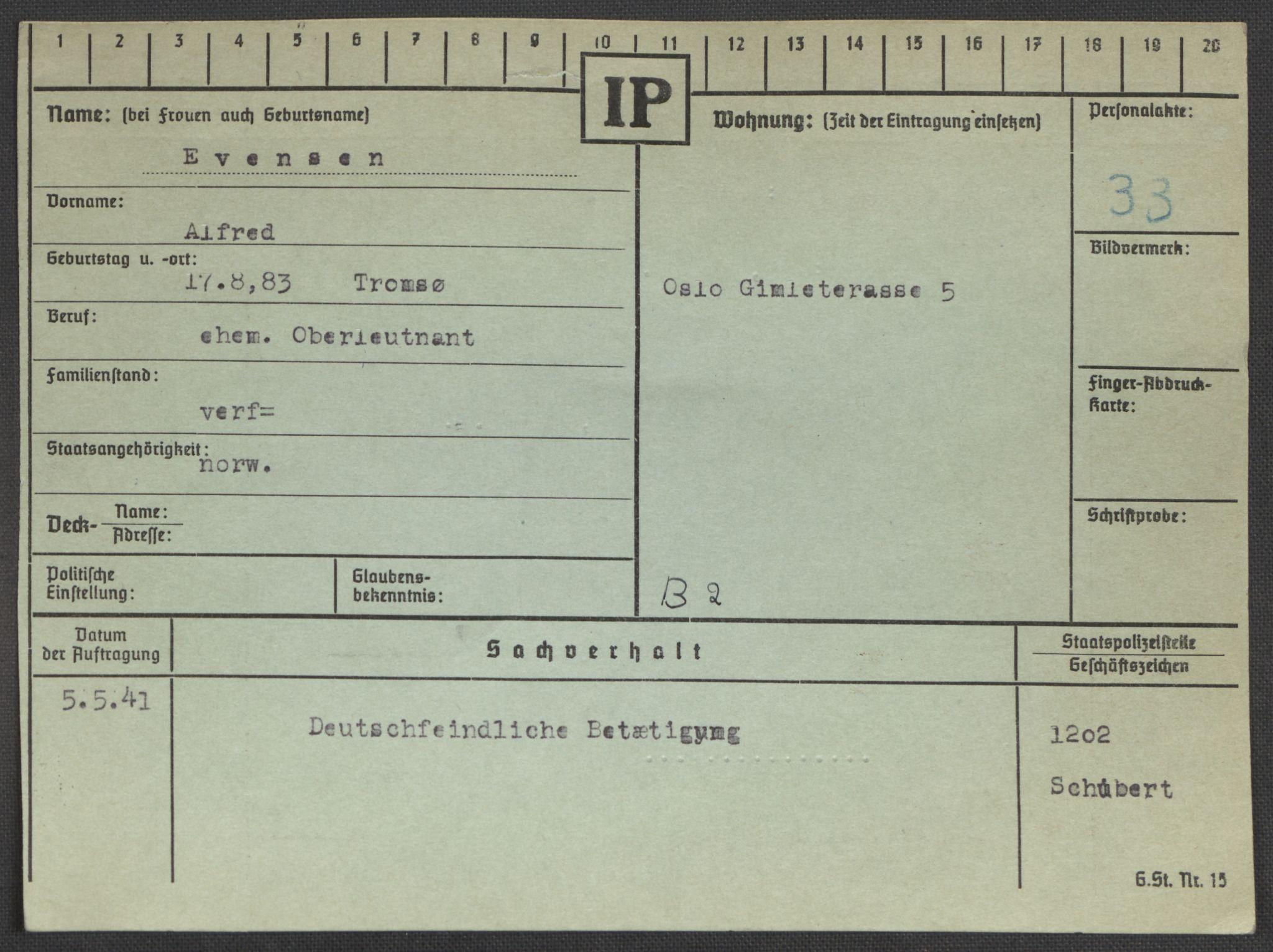 RA, Befehlshaber der Sicherheitspolizei und des SD, E/Ea/Eaa/L0003: Register over norske fanger i Møllergata 19: Eng-Hag, 1940-1945, s. 178