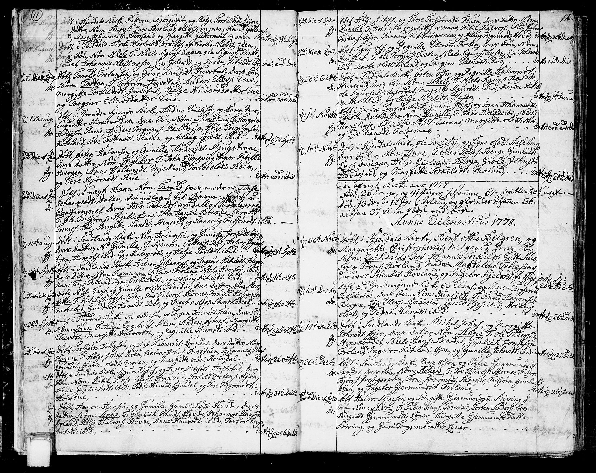 SAKO, Hjartdal kirkebøker, F/Fa/L0005: Ministerialbok nr. I 5, 1776-1801, s. 11-12
