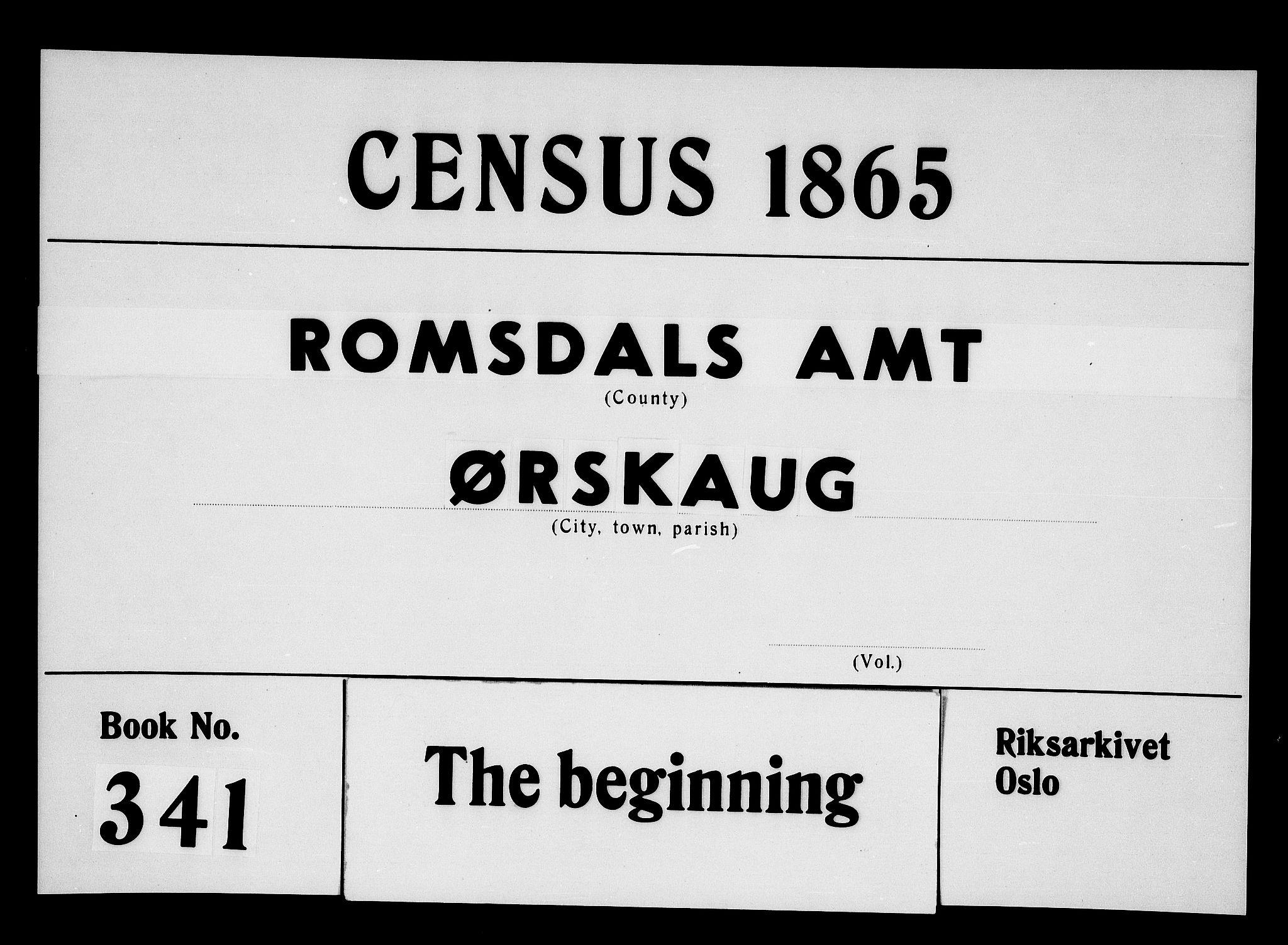 RA, Folketelling 1865 for 1527P Ørskog prestegjeld, 1865, s. 1