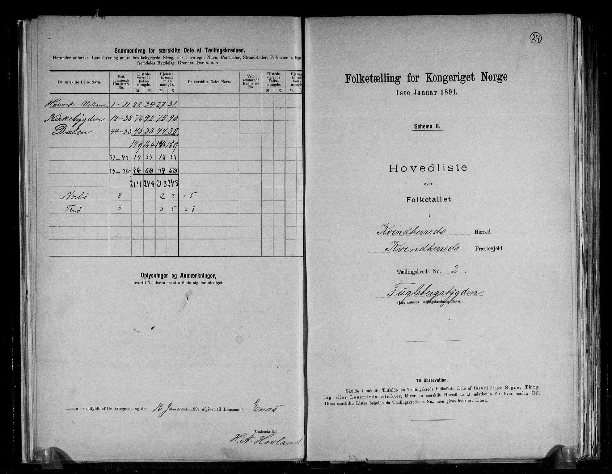 RA, Folketelling 1891 for 1224 Kvinnherad herred, 1891, s. 7