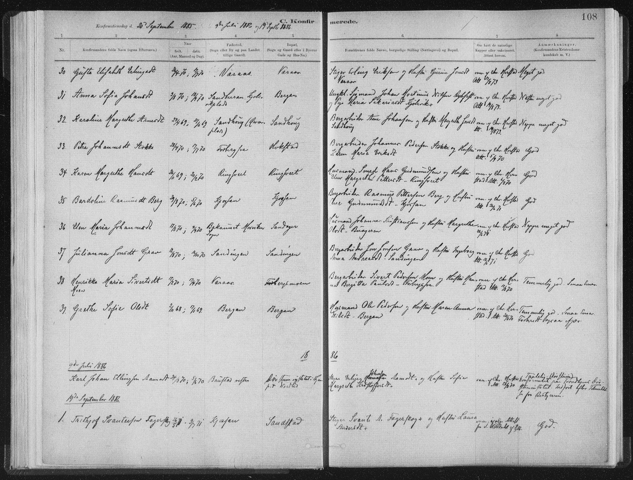 SAT, Ministerialprotokoller, klokkerbøker og fødselsregistre - Nord-Trøndelag, 722/L0220: Ministerialbok nr. 722A07, 1881-1908, s. 108