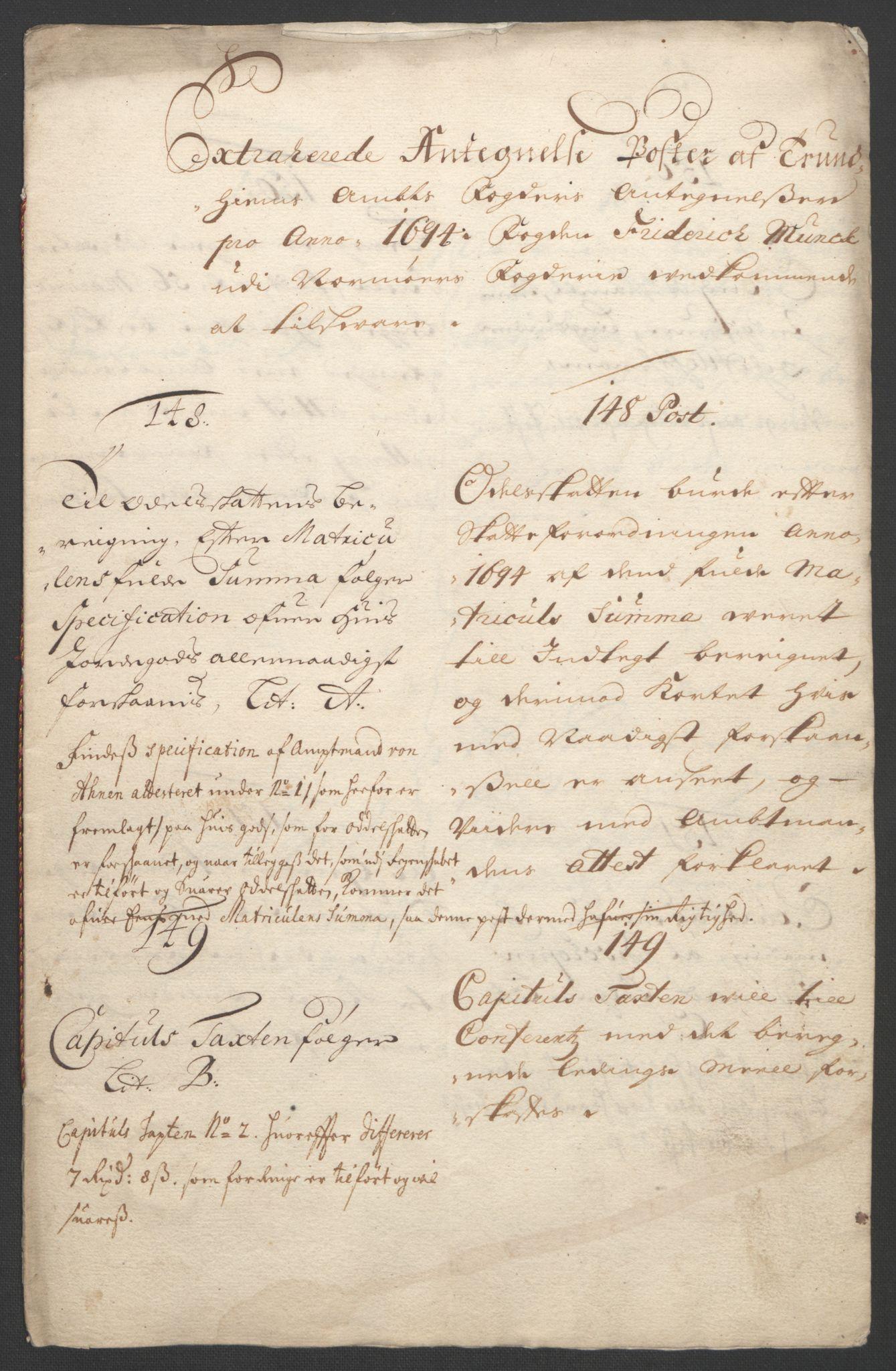 RA, Rentekammeret inntil 1814, Reviderte regnskaper, Fogderegnskap, R56/L3736: Fogderegnskap Nordmøre, 1694-1696, s. 133