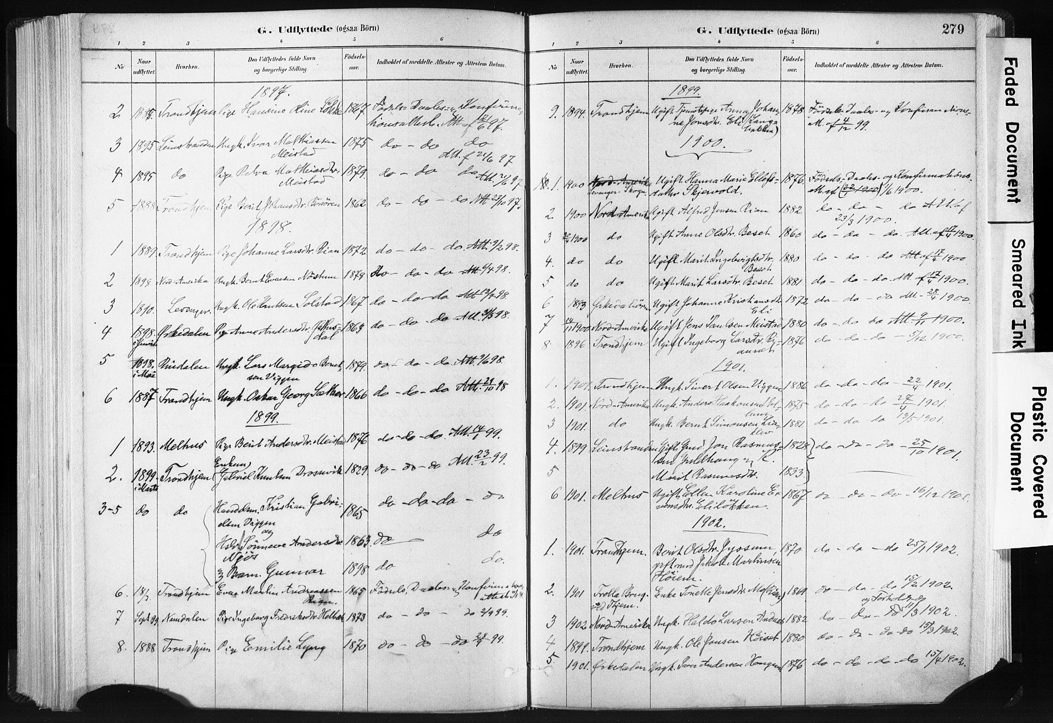 SAT, Ministerialprotokoller, klokkerbøker og fødselsregistre - Sør-Trøndelag, 665/L0773: Ministerialbok nr. 665A08, 1879-1905, s. 279