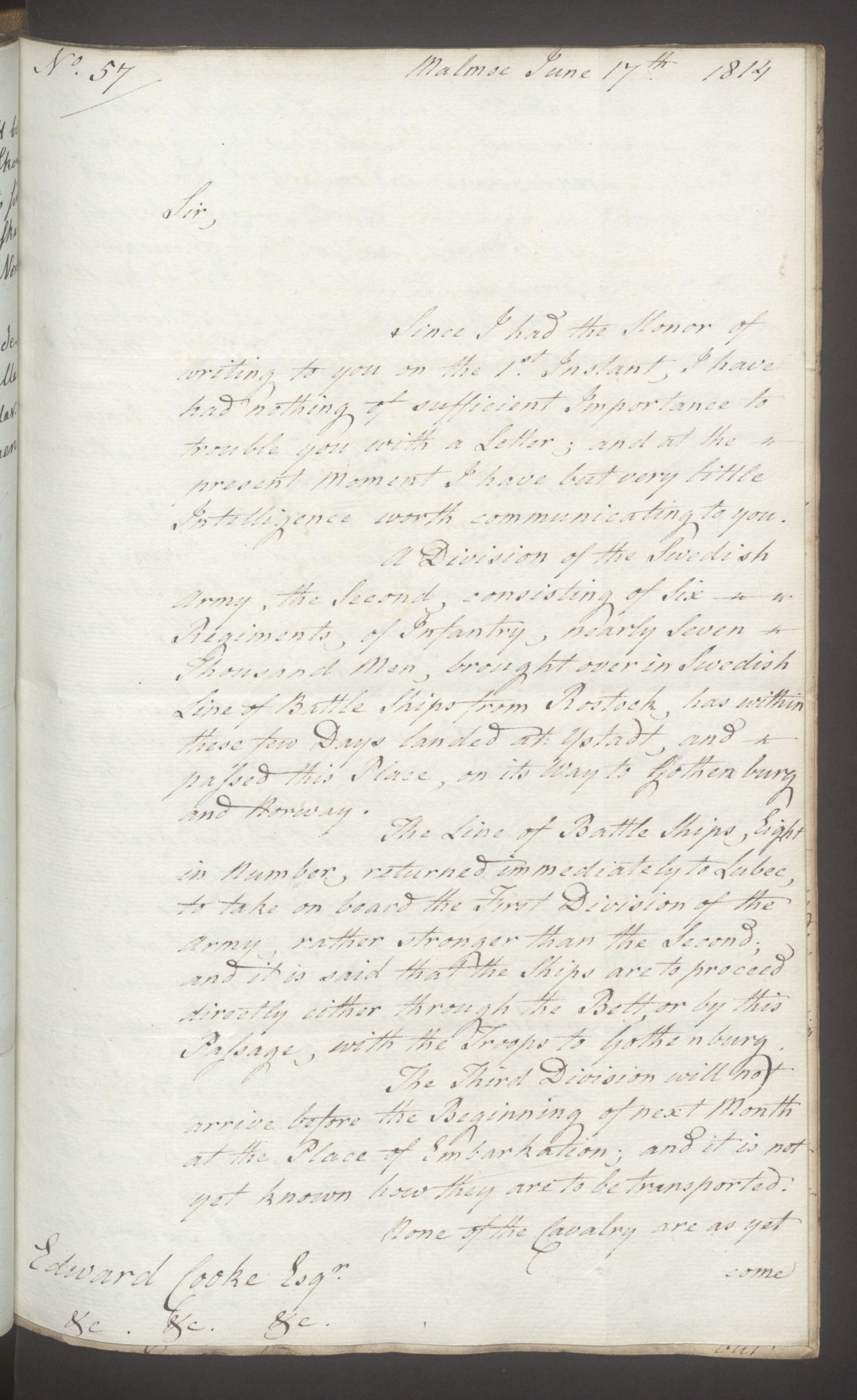 UKA, Foreign Office*, FO 38/16: Sir C. Gordon. Reports from Malmö, Jonkoping, and Helsingborg, 1814, s. 63