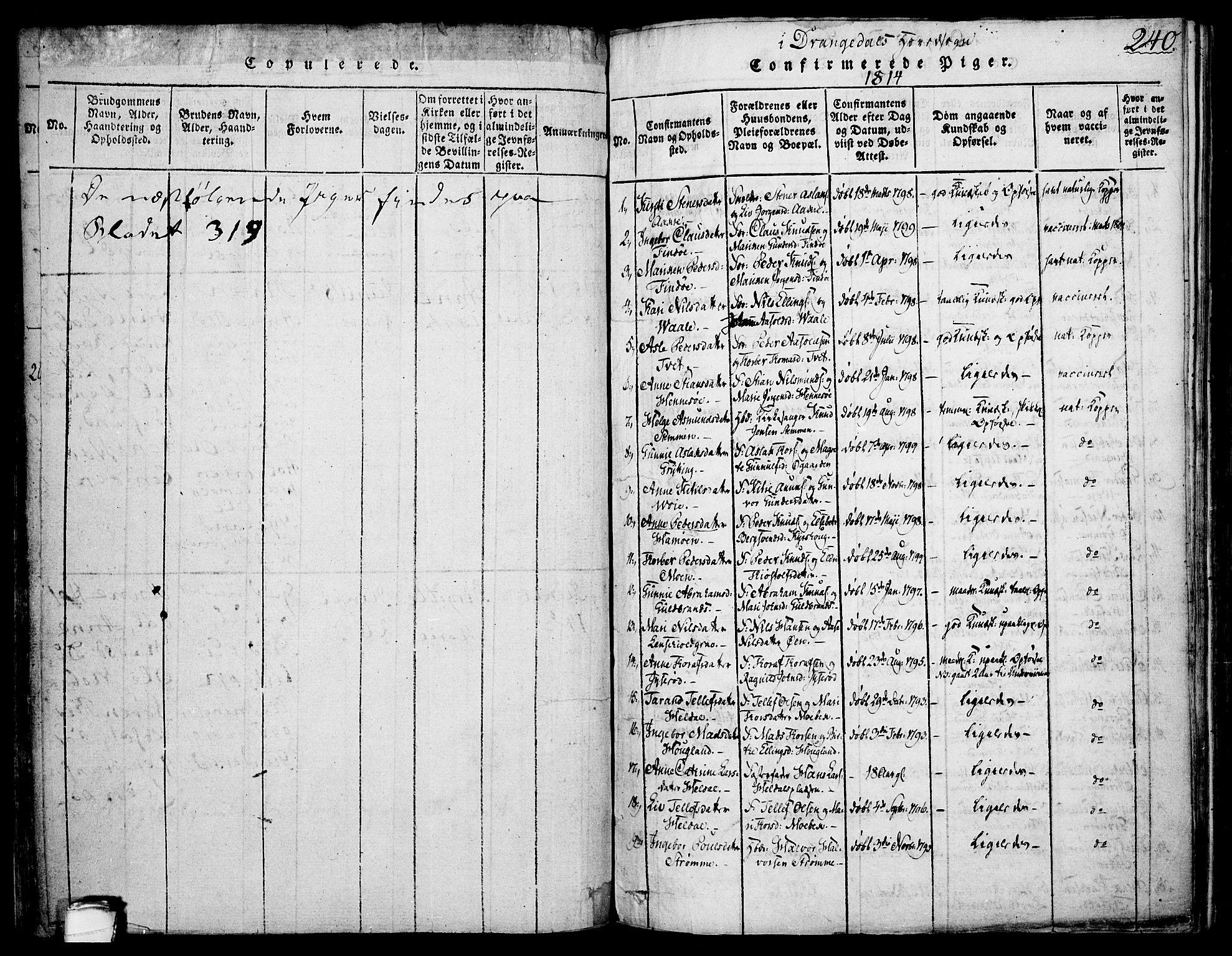 SAKO, Drangedal kirkebøker, F/Fa/L0005: Ministerialbok nr. 5 /1, 1814-1831, s. 240