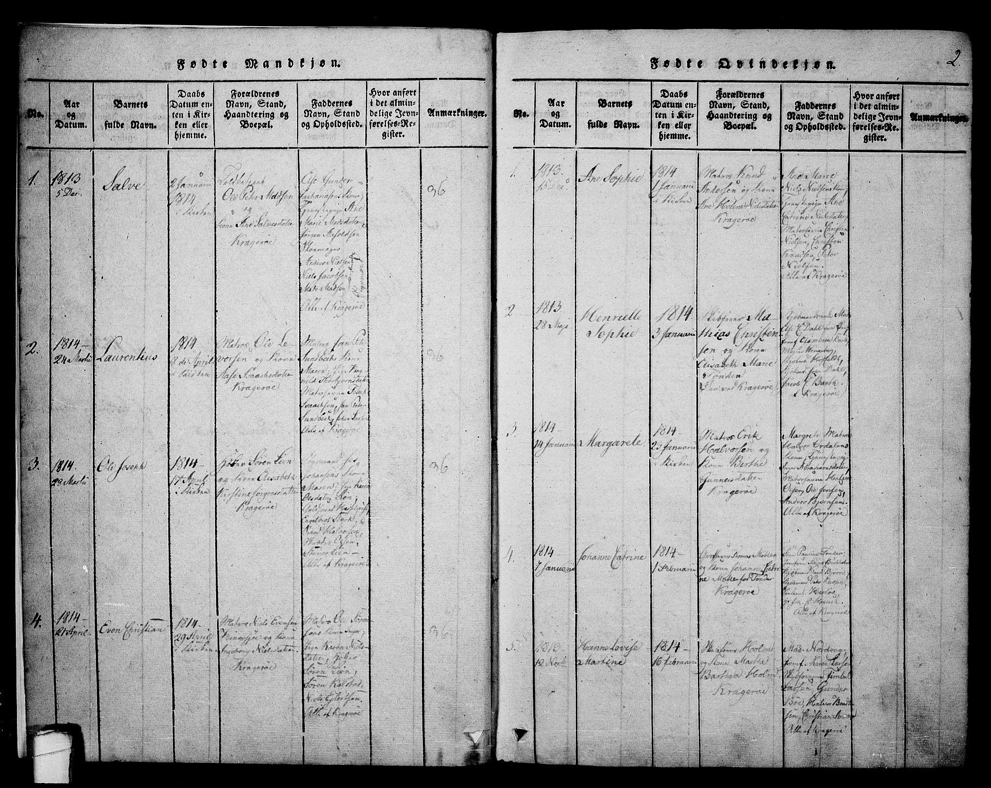 SAKO, Kragerø kirkebøker, F/Fa/L0004: Ministerialbok nr. 4, 1814-1831, s. 2