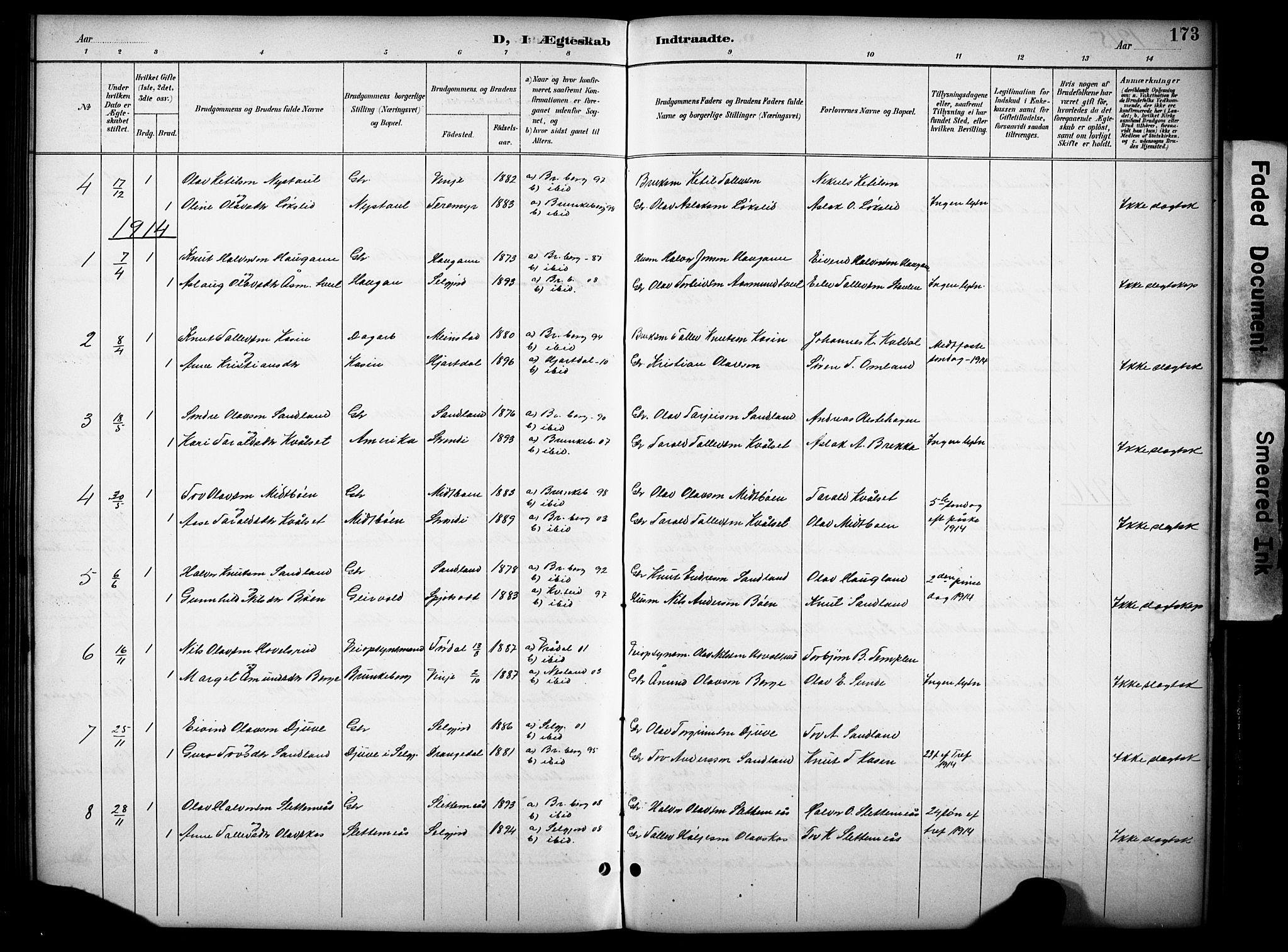 SAKO, Kviteseid kirkebøker, G/Gb/L0003: Klokkerbok nr. II 3, 1893-1933, s. 173
