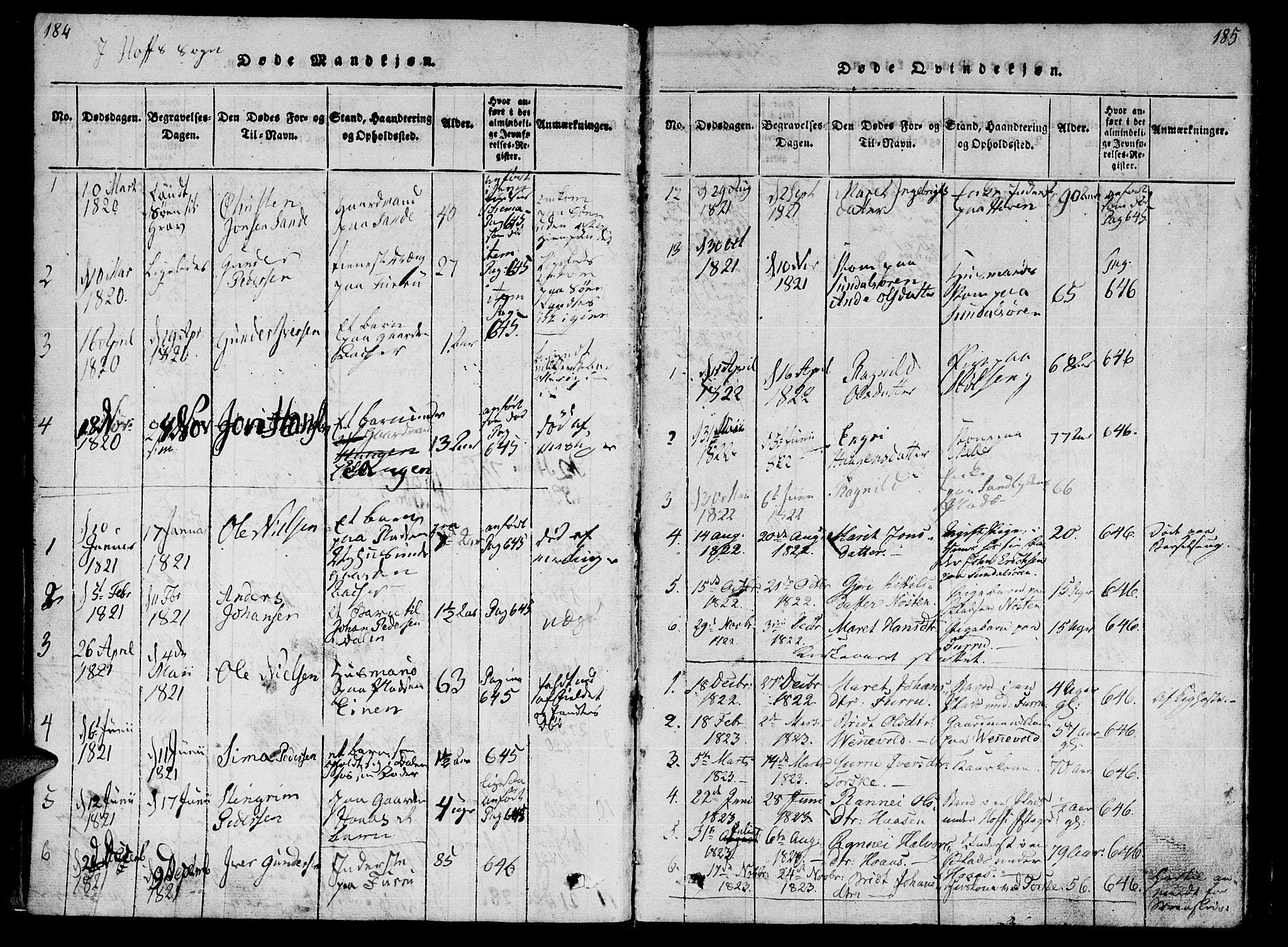 SAT, Ministerialprotokoller, klokkerbøker og fødselsregistre - Møre og Romsdal, 590/L1009: Ministerialbok nr. 590A03 /1, 1819-1832, s. 184-185