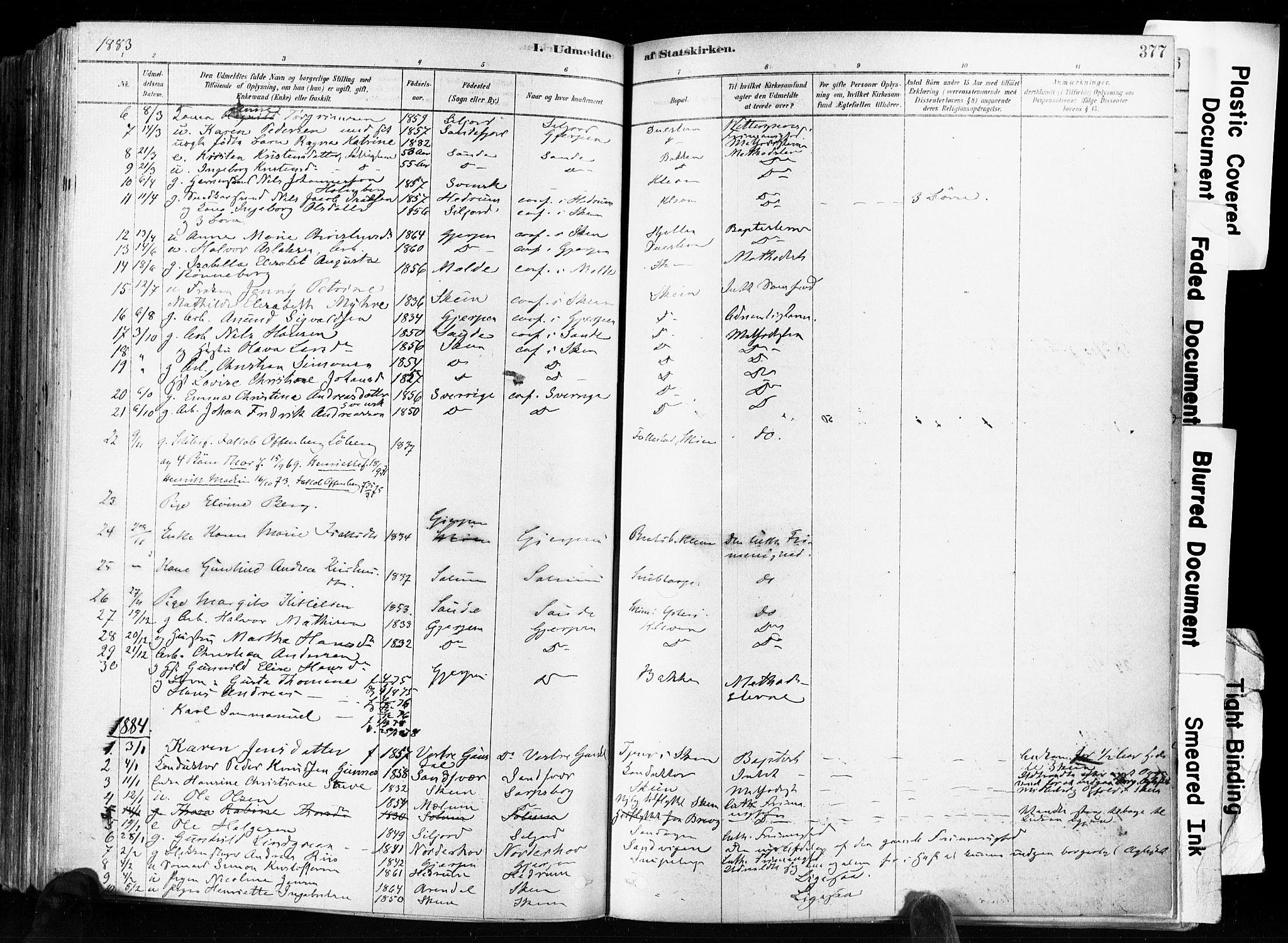 SAKO, Skien kirkebøker, F/Fa/L0009: Ministerialbok nr. 9, 1878-1890, s. 377